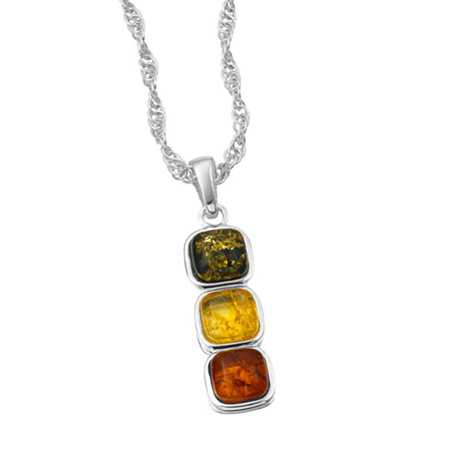 Amber Drop Coloured Gem Pendant