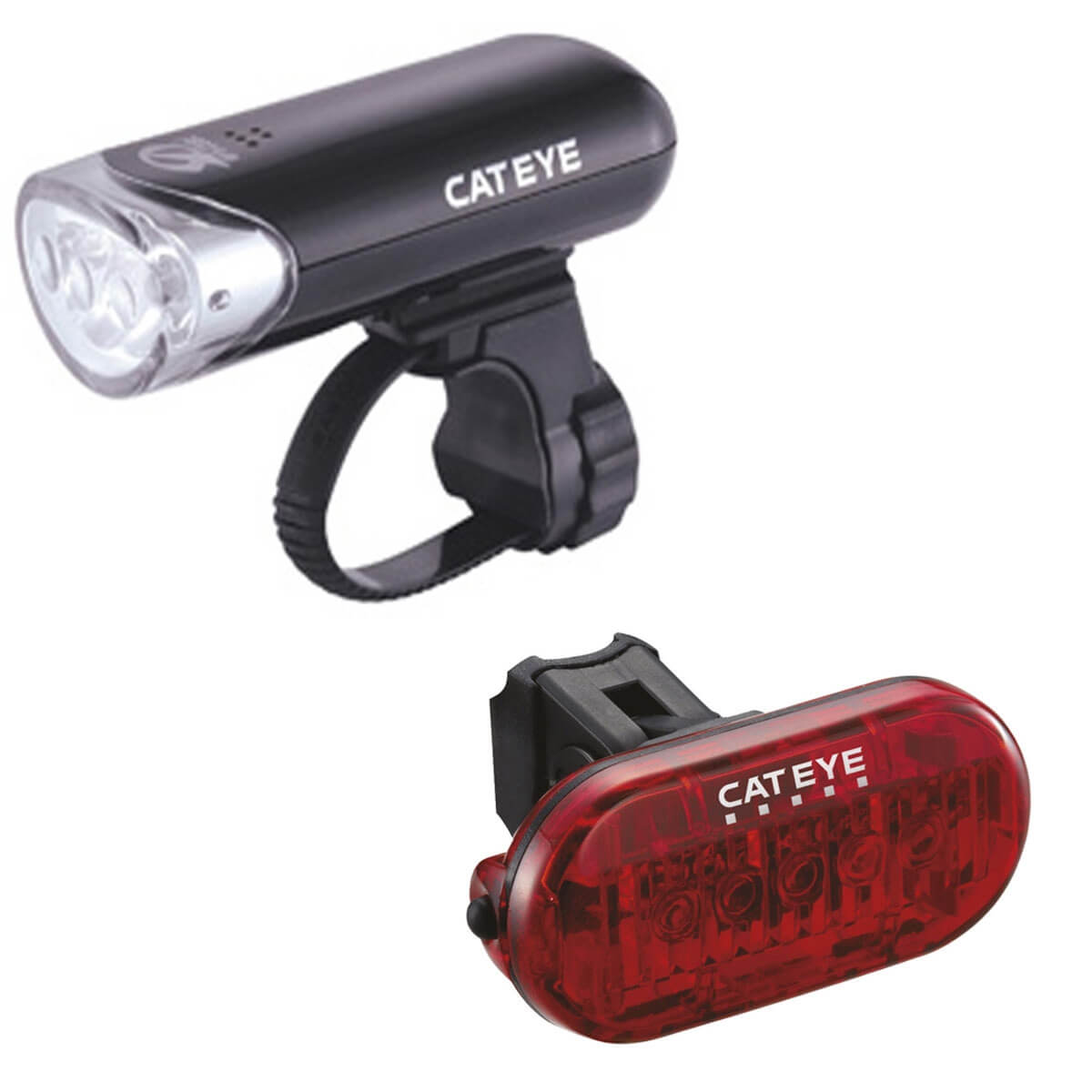 Cateye EL135 Front and Omni 5 Rear Light Set