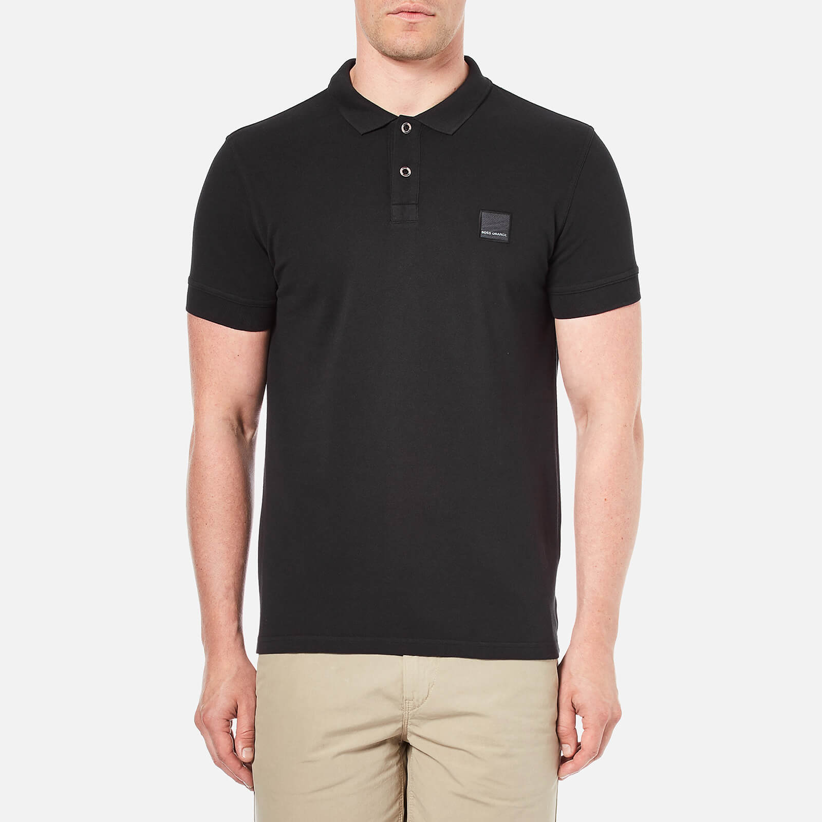 51ed06afc3d3 BOSS Orange Men's Pascha Slim Block Branded Polo Shirt - Black - Free UK  Delivery over £50