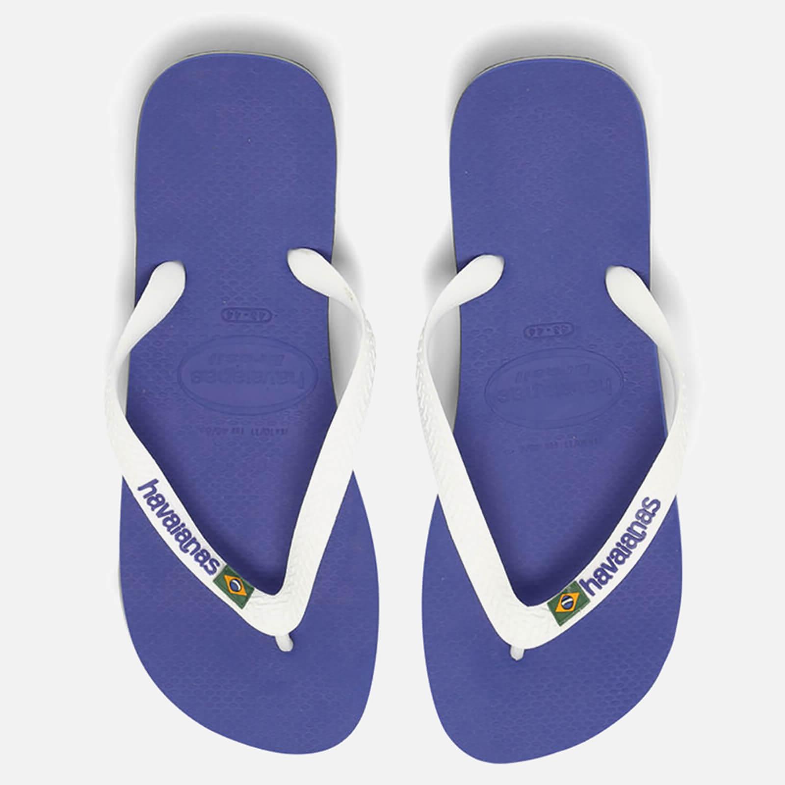 483bd812e3fa Havaianas Brasil Logo Flip Flops - Marine Blue Womens Footwear ...
