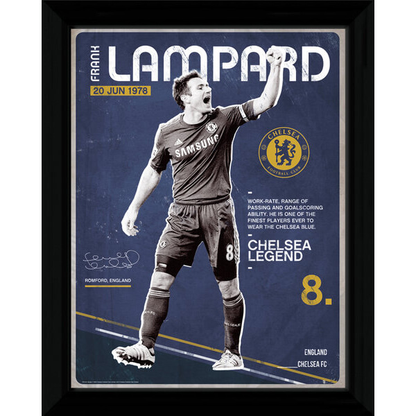 "Chelsea Lampard Retro - 16"""" x 12"""" Framed Photographic"