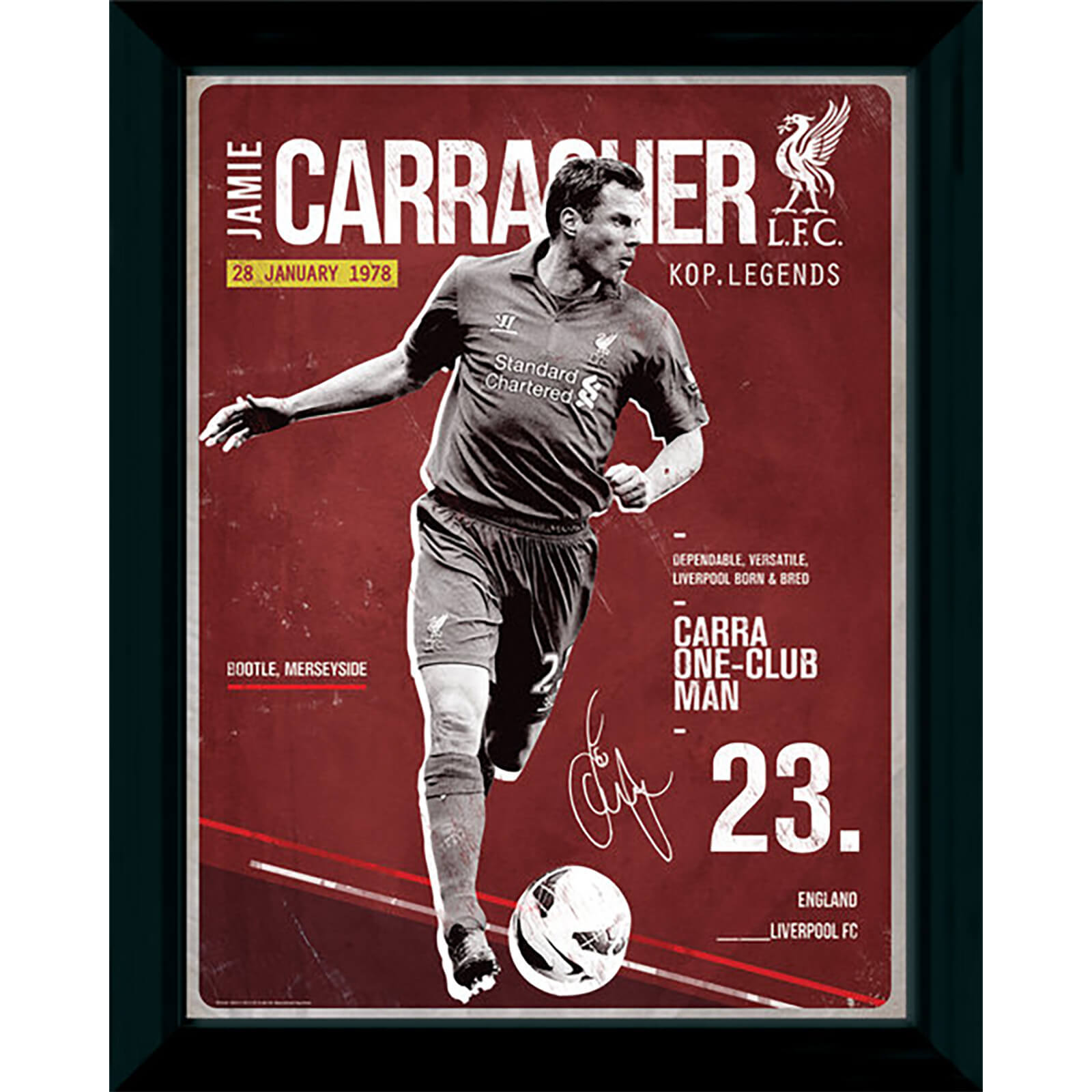"Liverpool Carragher Retro - 16"""" x 12"""" Framed Photographic"