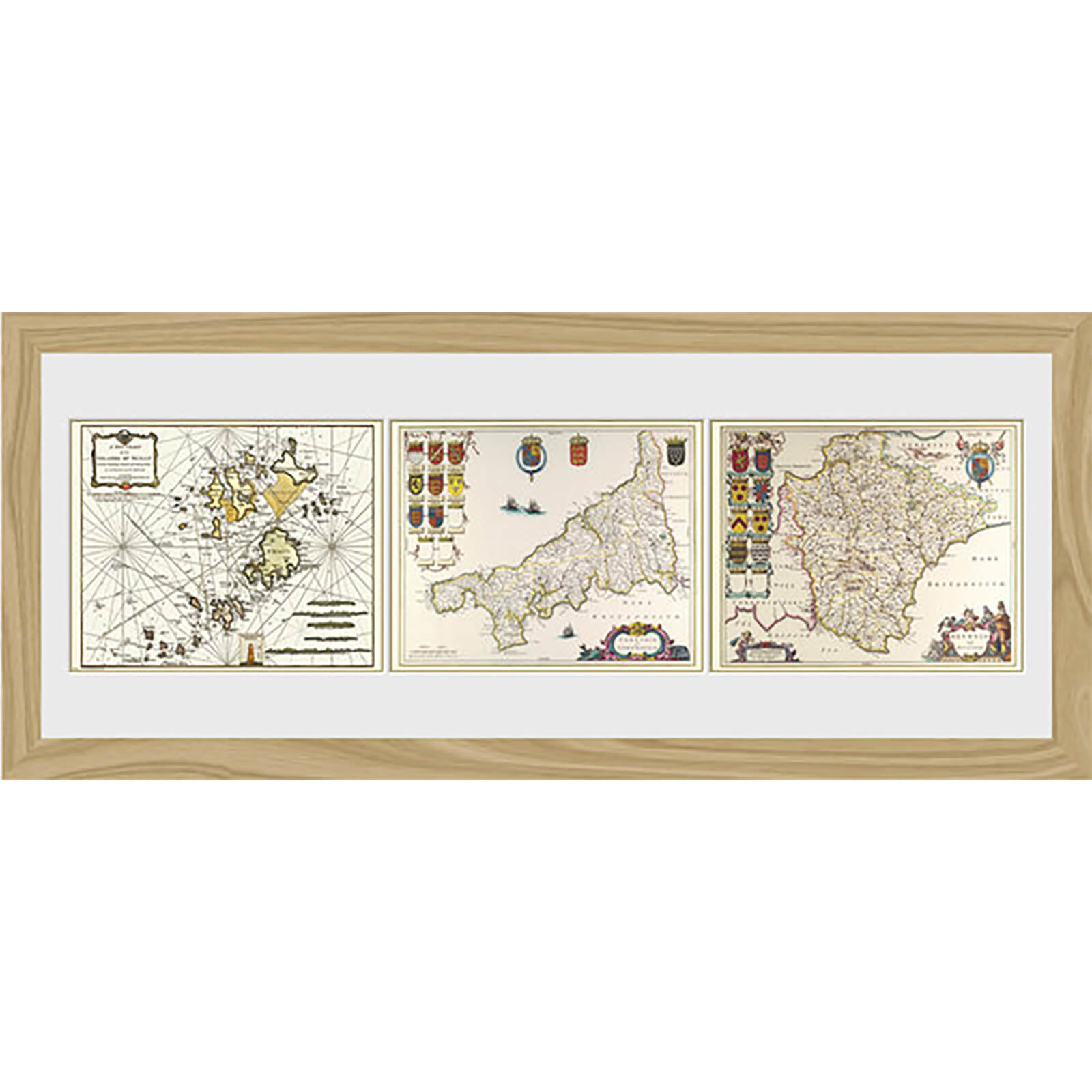 "Maps Triptych - 30"""" x 12"""" Framed Photographic"