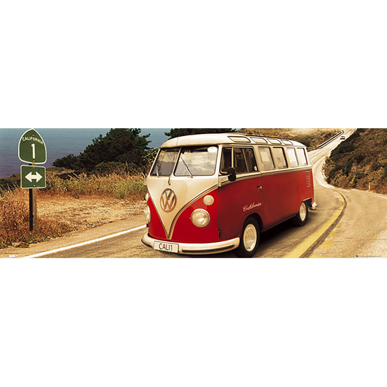 VW Californian Camper Route One - Door Poster - 53 x 158cm