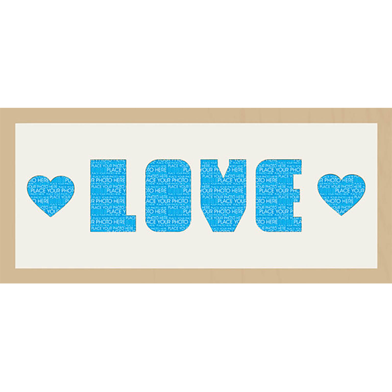 "GB Cream Mount Love & Hearts Photo Font - Framed Mount - 12"""" x 30"""