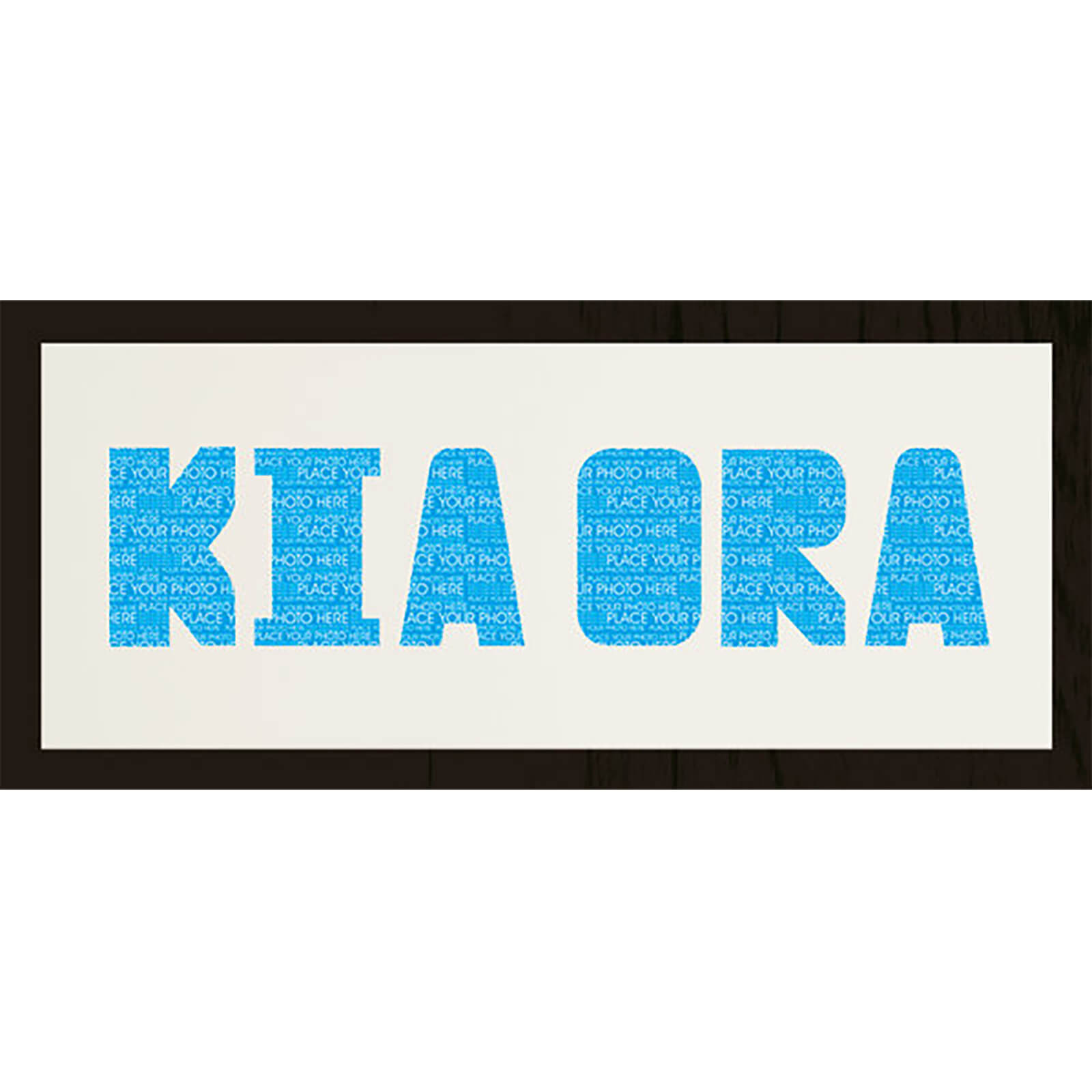 "GB Cream Mount Kia Ora Photo Font - Framed Mount - 12"""" x 30"""