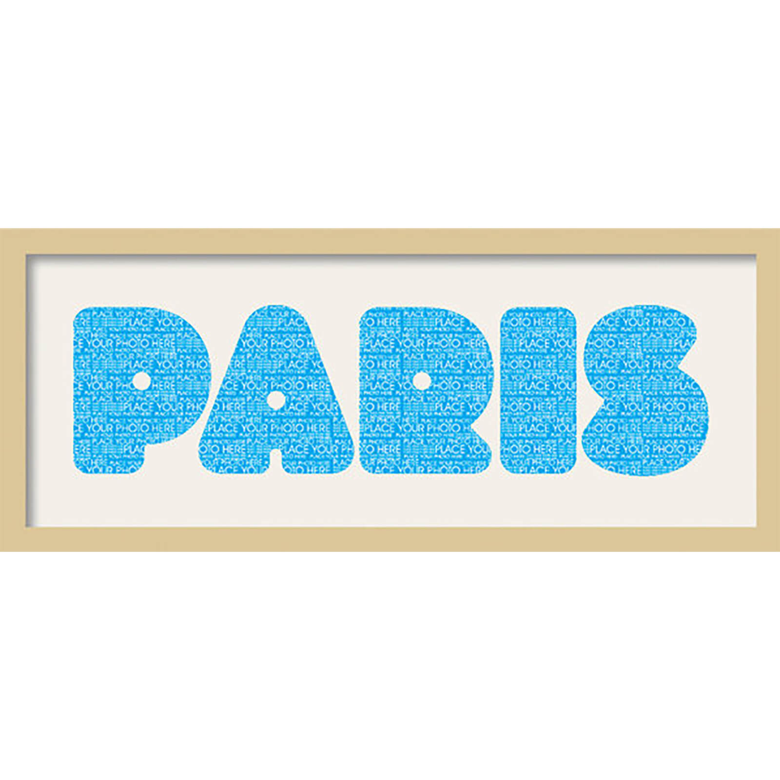 "GB Cream Mount Paris Fatty Font - Framed Mount - 12"""" x 30"""