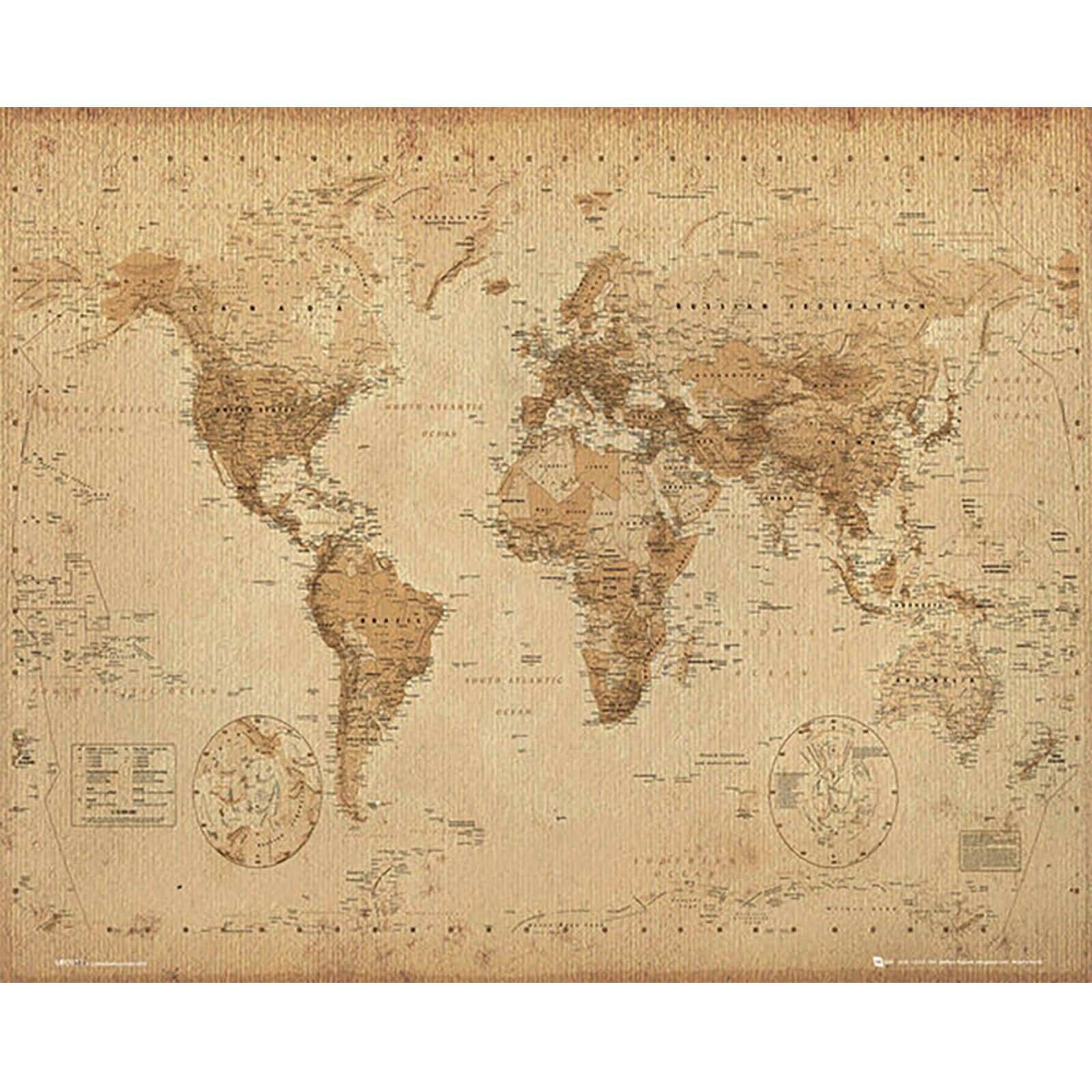 World Map Antique Style - Mini Poster - 40 x 50cm
