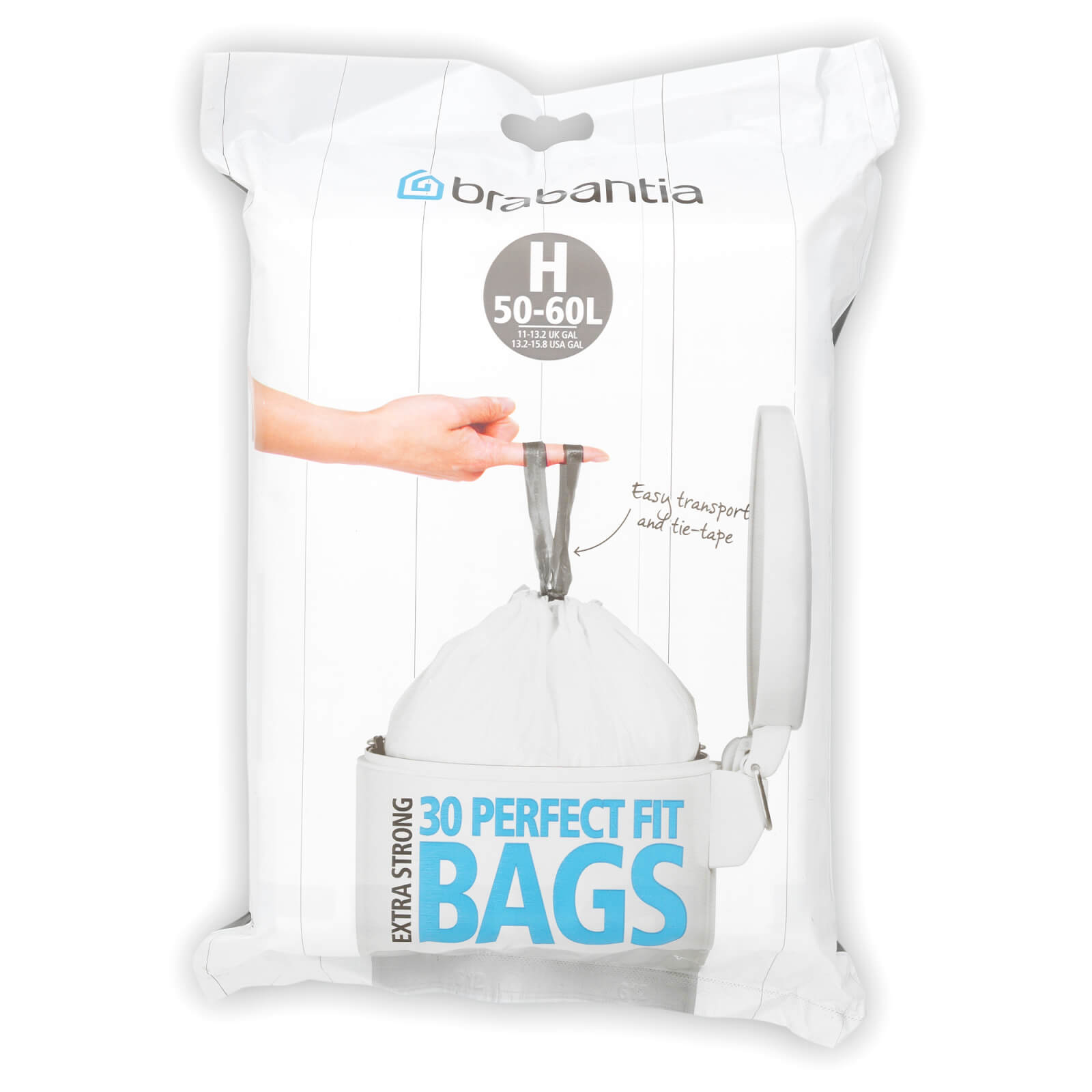Brabantia PerfectFit Bags 40-50 Litre [H], Dispenser Pack of 30 Bags - White