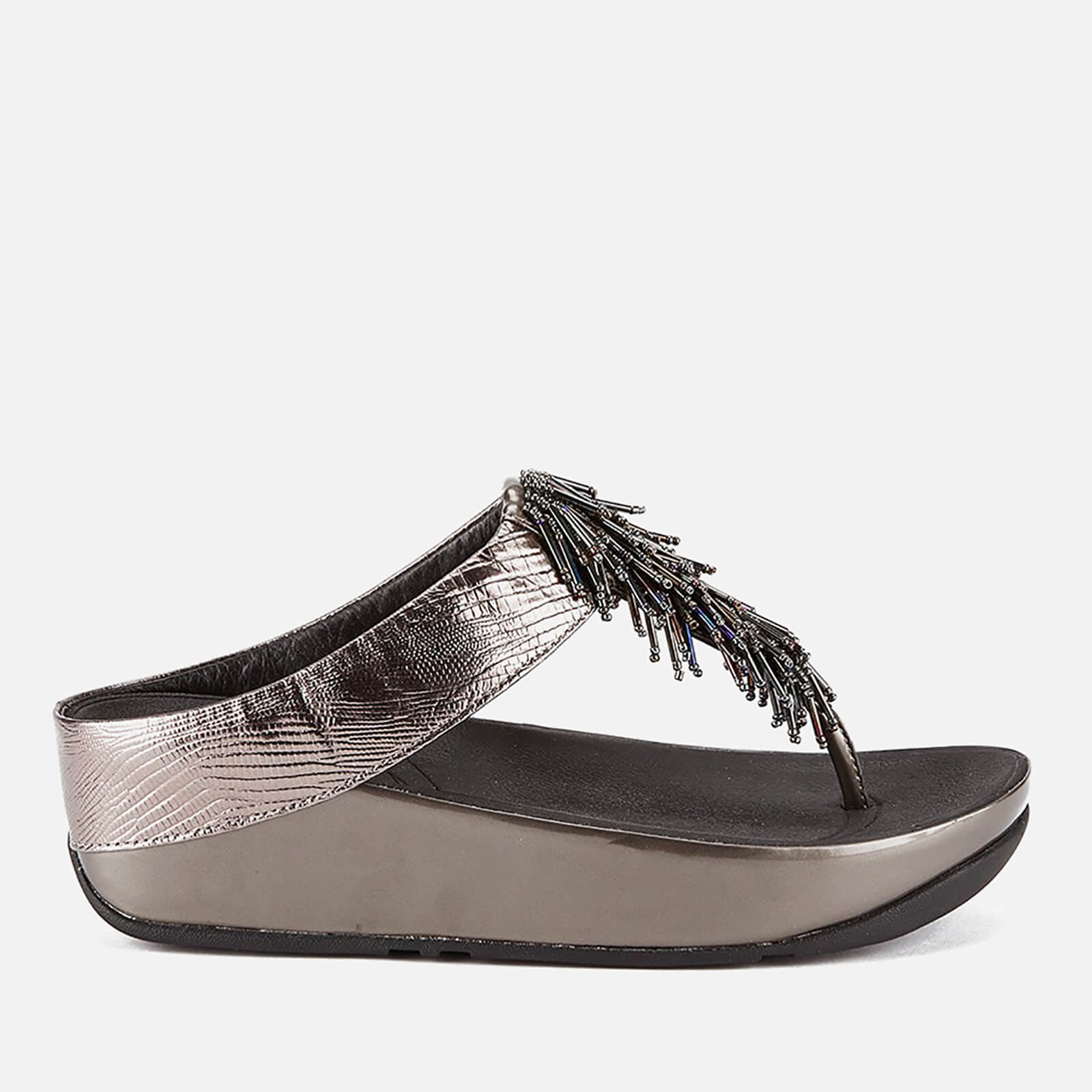 488c40905 FitFlop Women's Cha Cha Leather/Suede Tassel Toe Post Sandals - Nimbus  Silver Womens Footwear | TheHut.com