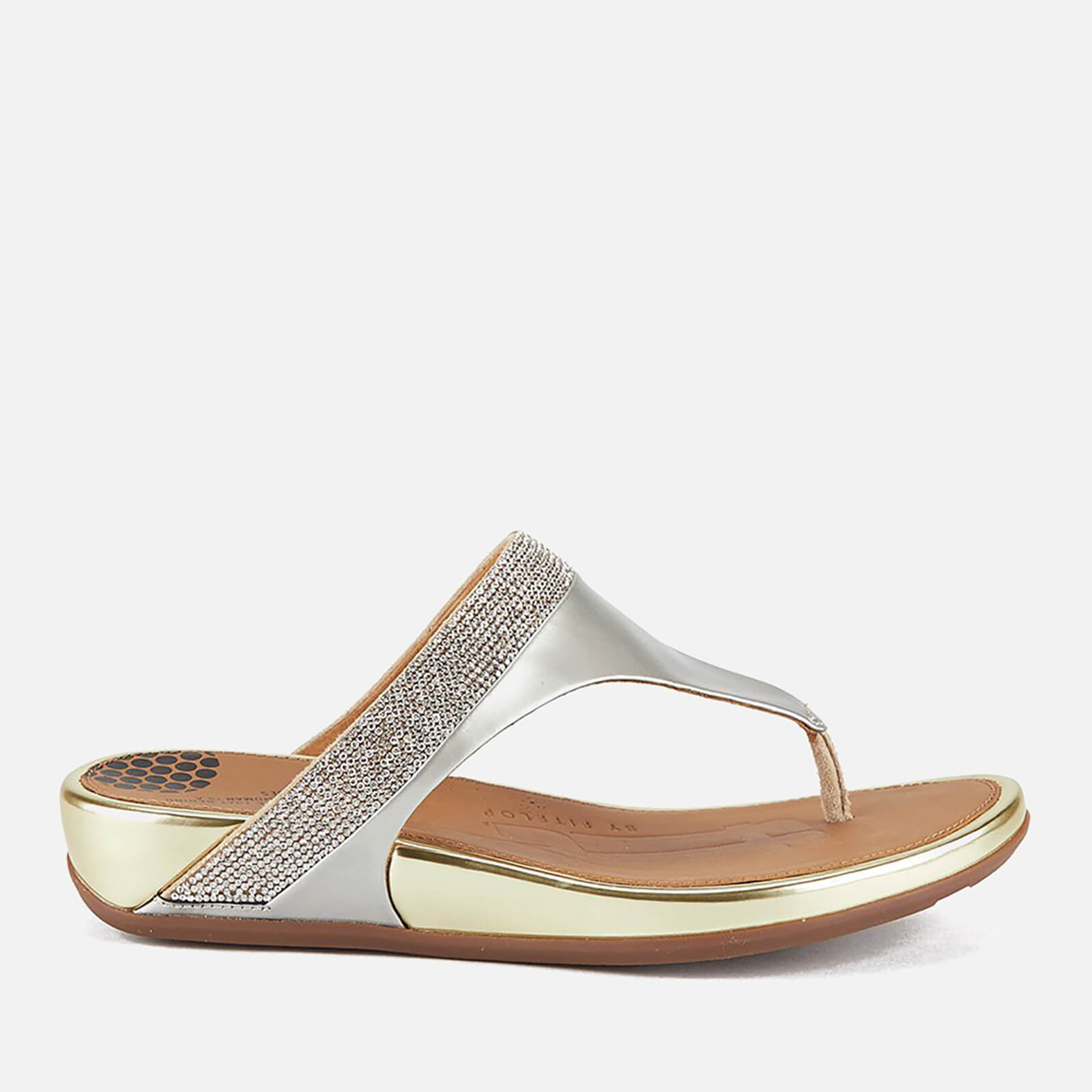 06492ed0e FitFlop Women s Banda Micro-Crystal Leather Toe Post Sandals - Pale Gold  Womens Footwear