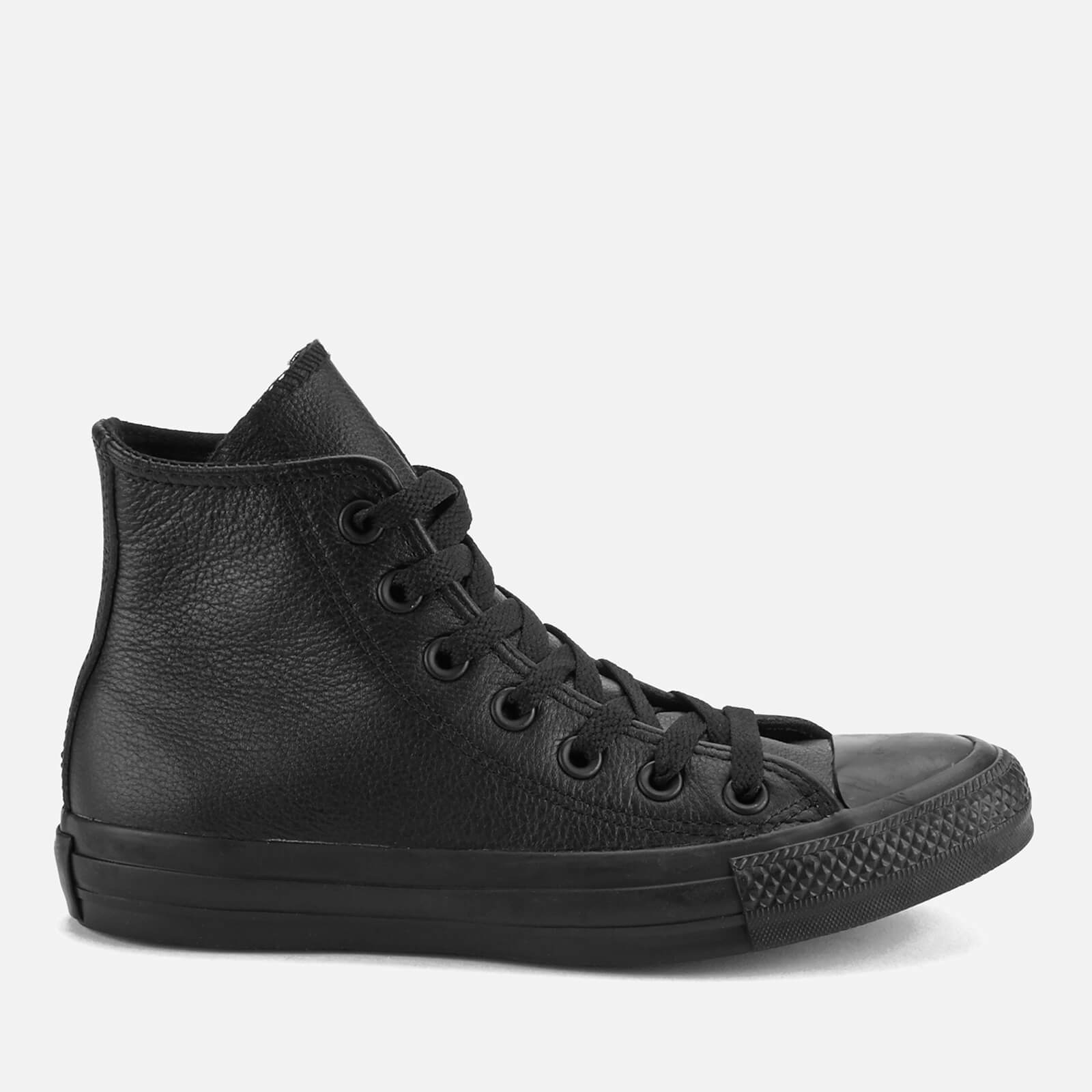 c95f9d49573cc0 Converse Chuck Taylor All Star Leather Hi-Top Trainers - Black Monochrome  Mens Footwear