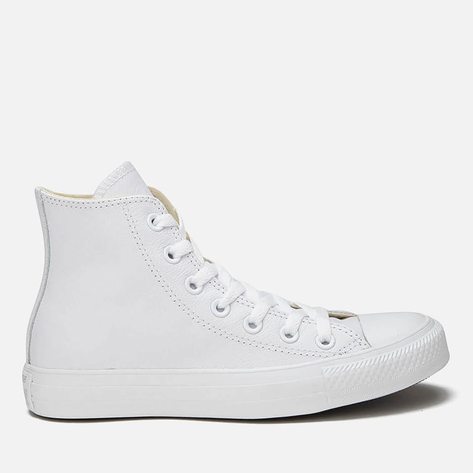 d95e3b3f8b16c Converse Unisex Chuck Taylor All Star Leather Hi-Top Trainers - White  Monochrome