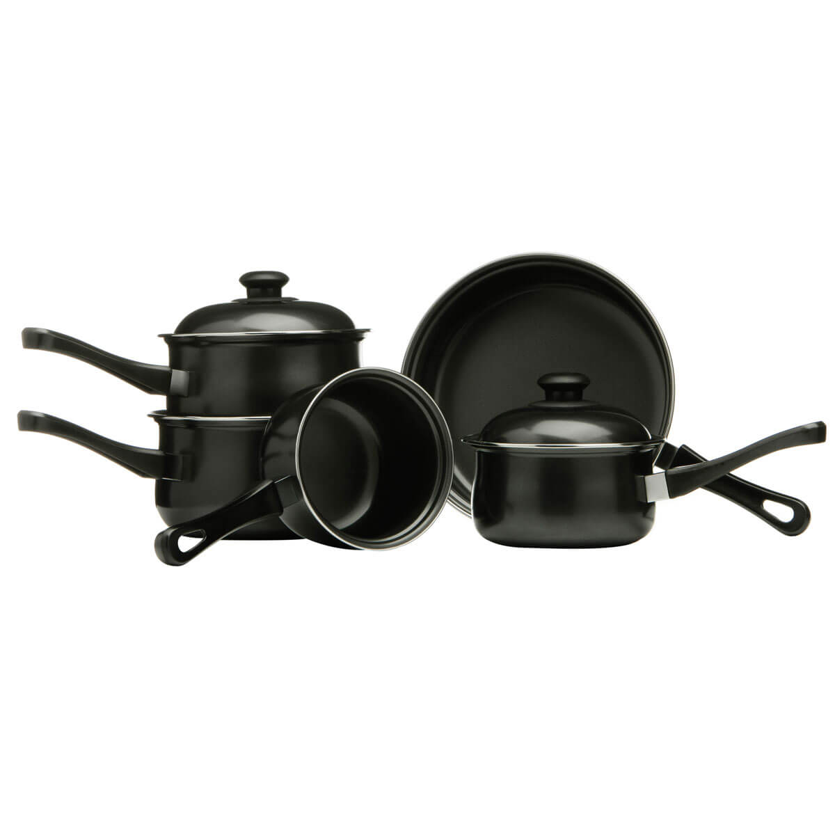 Premier Housewares 5 Piece Non Stick Carbon Steel Cookware Set - Black