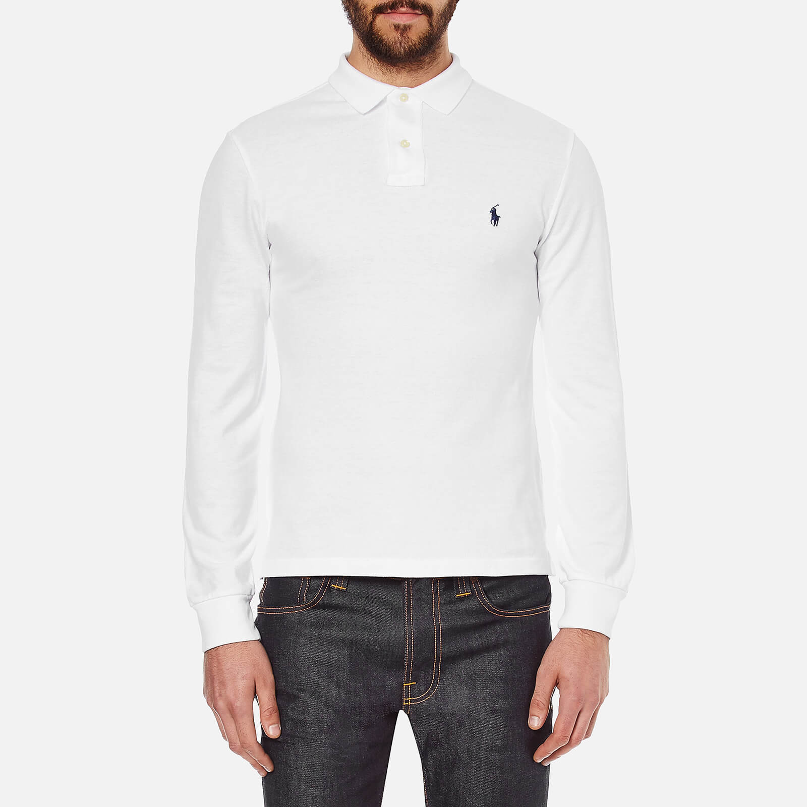 5f91d8fa4428 Polo Ralph Lauren Men s Slim Fit Long Sleeved Polo Shirt - White - Free UK  Delivery over £50