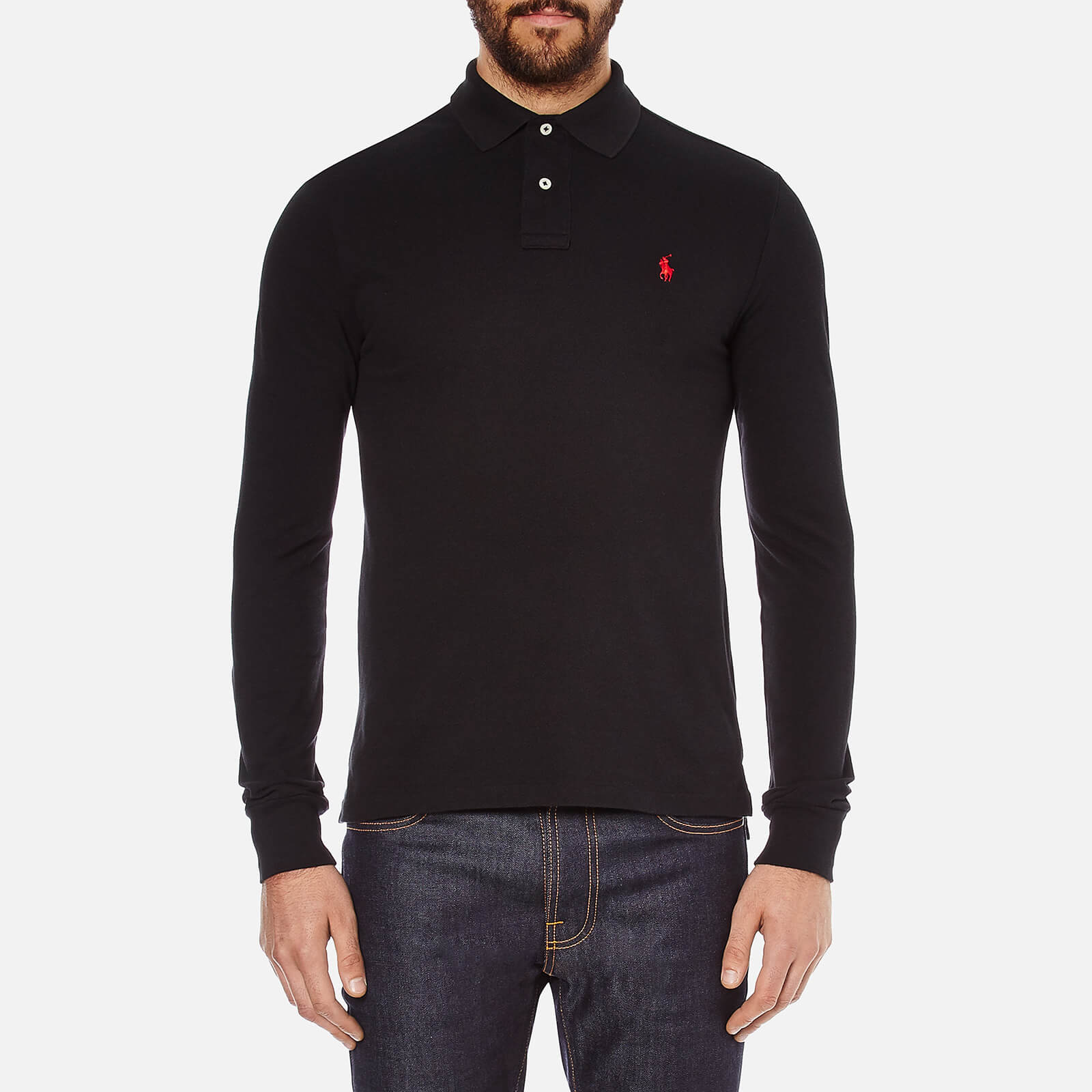 0d47c424aba0 Polo Ralph Lauren Men s Slim Fit Long Sleeved Polo Shirt - Polo Black -  Free UK Delivery over £50