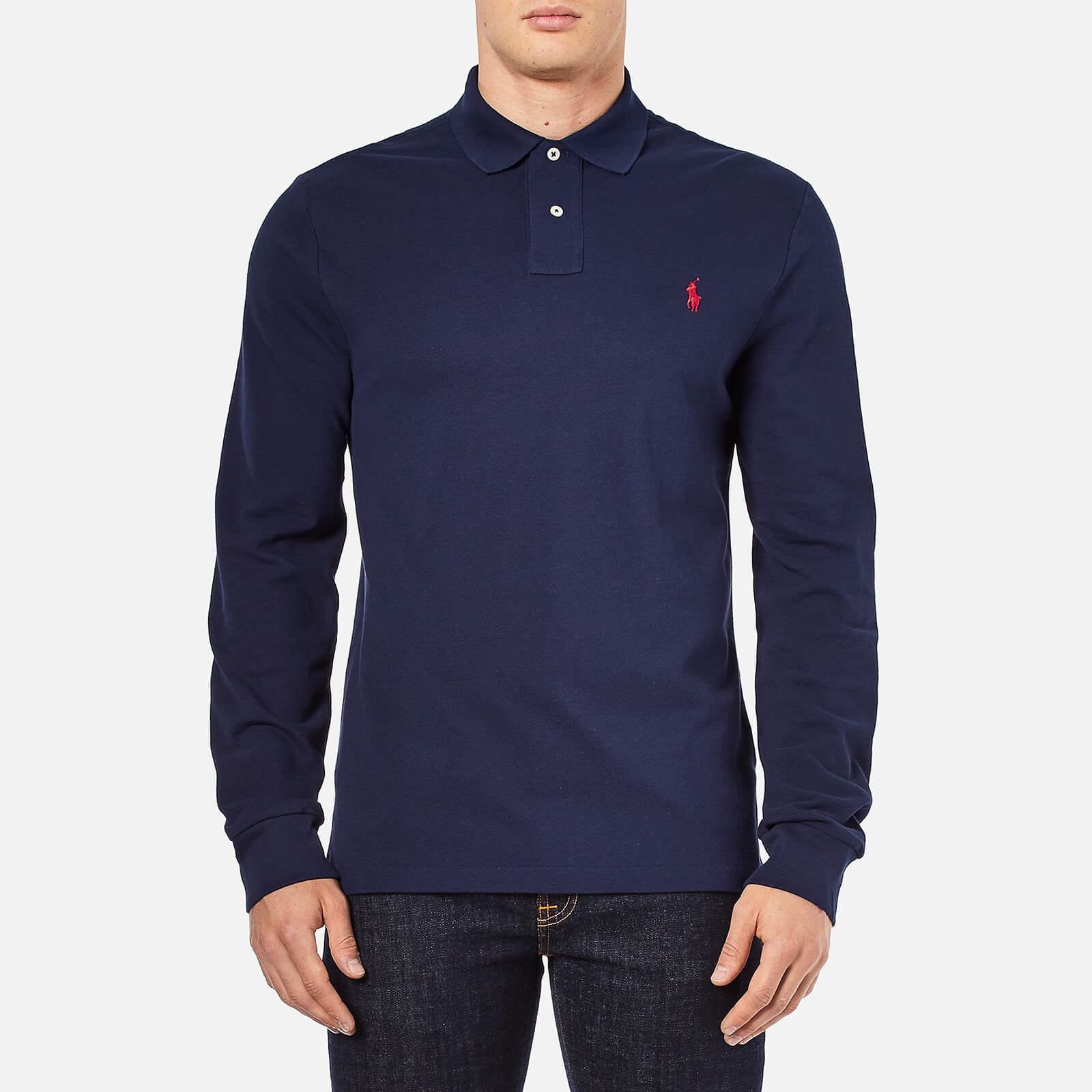 b82f6acb Polo Ralph Lauren Men's Slim Fit Long Sleeved Polo Shirt - Newport Navy - Free  UK Delivery over £50