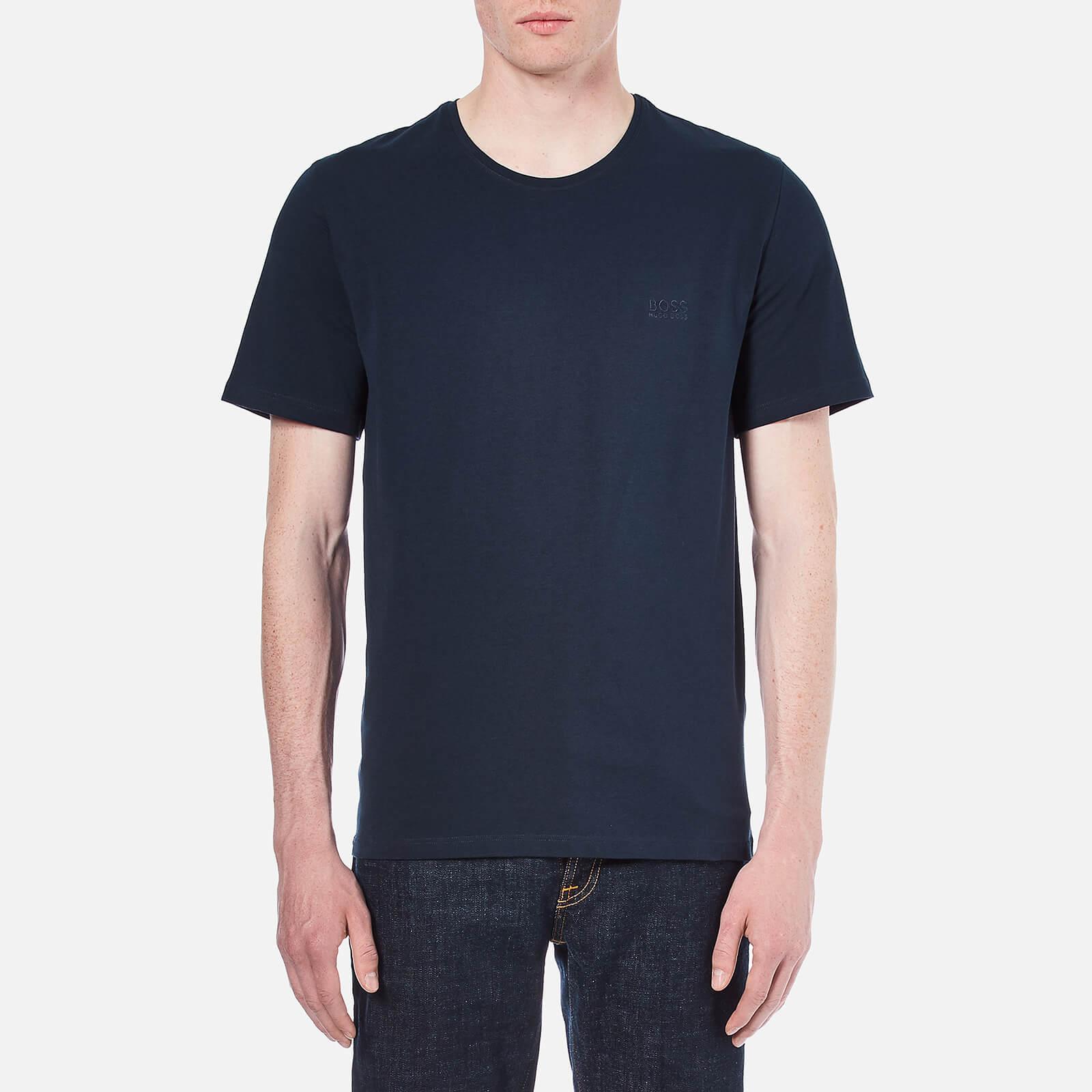 61534486f BOSS Hugo Boss Men's Small Logo Crew Neck T-Shirt - Navy Clothing |  TheHut.com