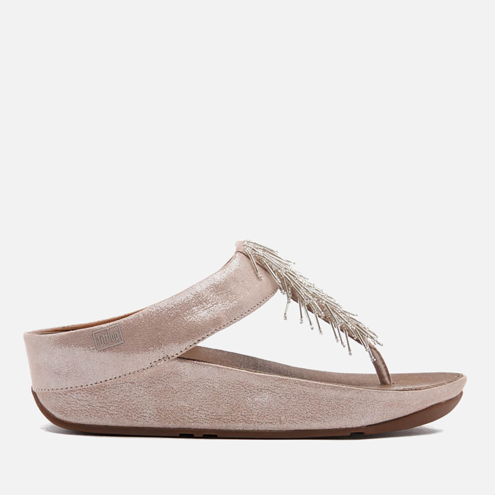 41448b9a1 FitFlop Women's Cha Cha Leather/Suede Tassel Toe-Post Sandals - Silver |  FREE UK Delivery | Allsole