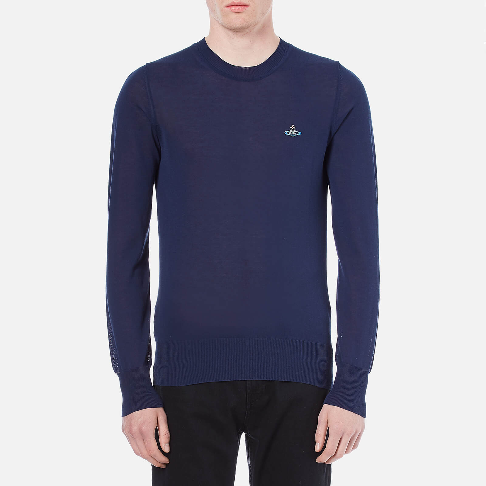 b60e20e4d1 Vivienne Westwood Men's Classic Round Neck Knitted Jumper - Navy - Free UK  Delivery over £50