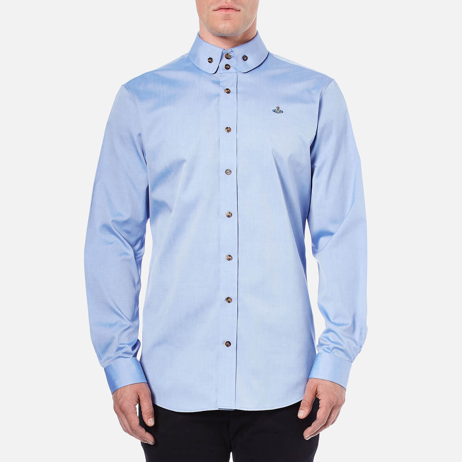 9c306a567af3d Vivienne Westwood MAN Men s Classic Oxford Krall Long Sleeve Shirt - Blue -  Free UK Delivery over £50