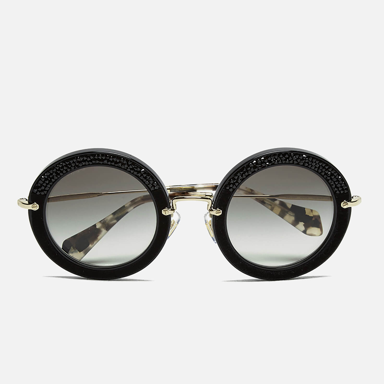 9da19d687a35 Miu Miu Women s Round Crystal Sunglasses - Black - Free UK Delivery over £50