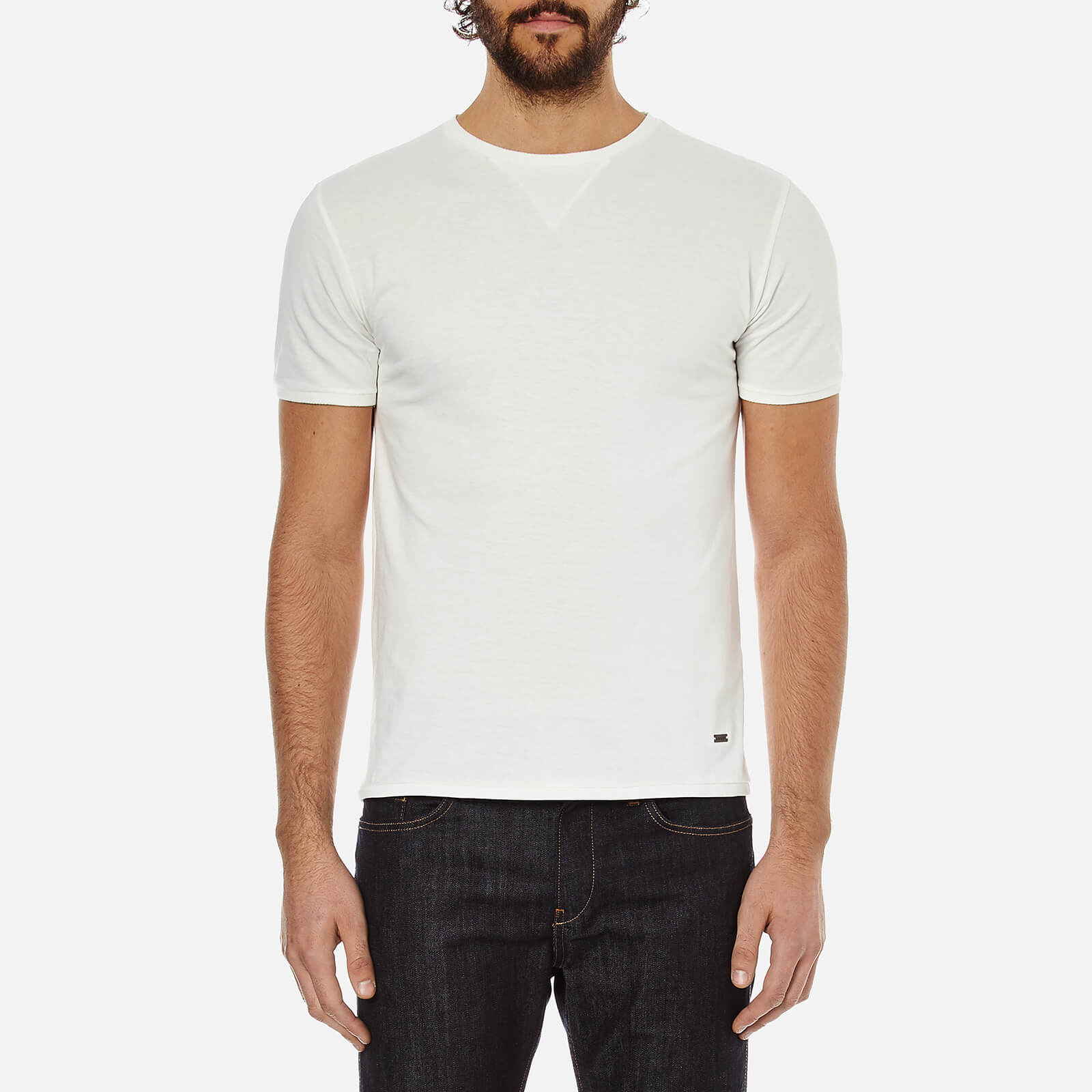 3a5f3aa10 BOSS Orange Men's Toern Collar Detail T-Shirt - White - Free UK Delivery  over £50