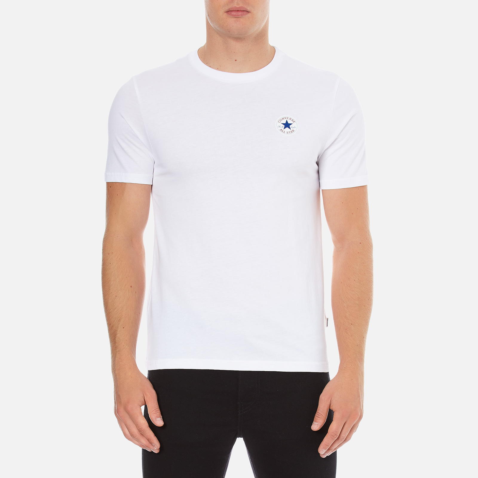 00c9e964bcf2 Converse Men s All Star Core Left Chest CP Crew T-Shirt - White Mens  Clothing