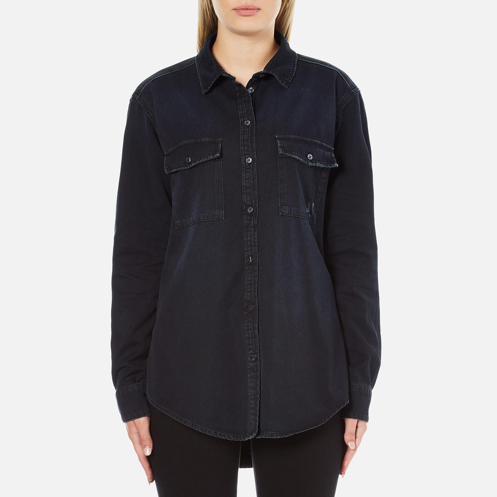 6339c28d MSGM Women's Logo Back Oversized Denim Shirt - Black - Free UK Delivery  over £50