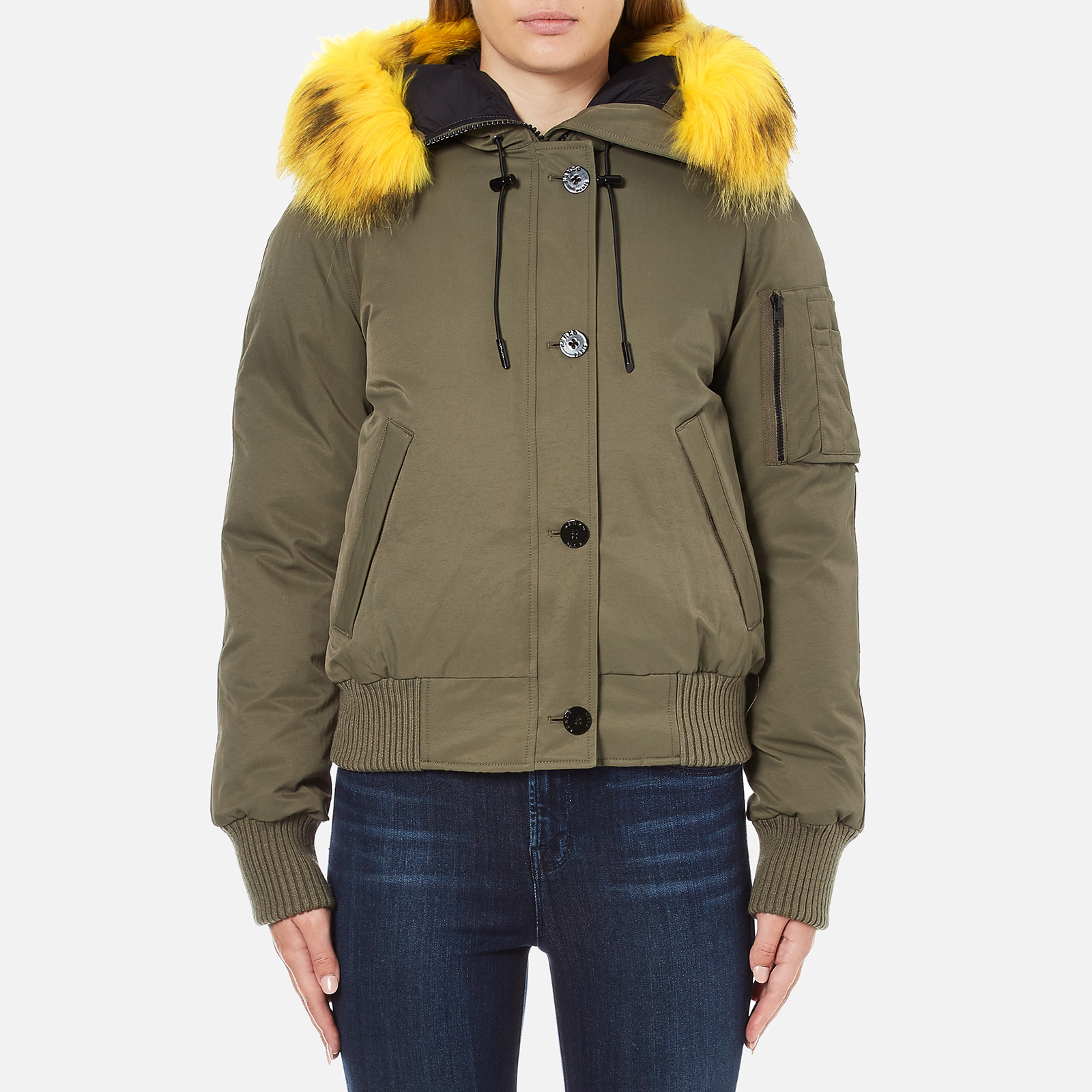 fa8fb1d32cfb KENZO Women s Removable Yellow Fur Lined Short Parka - Dark Khaki - Free UK  Delivery over £50