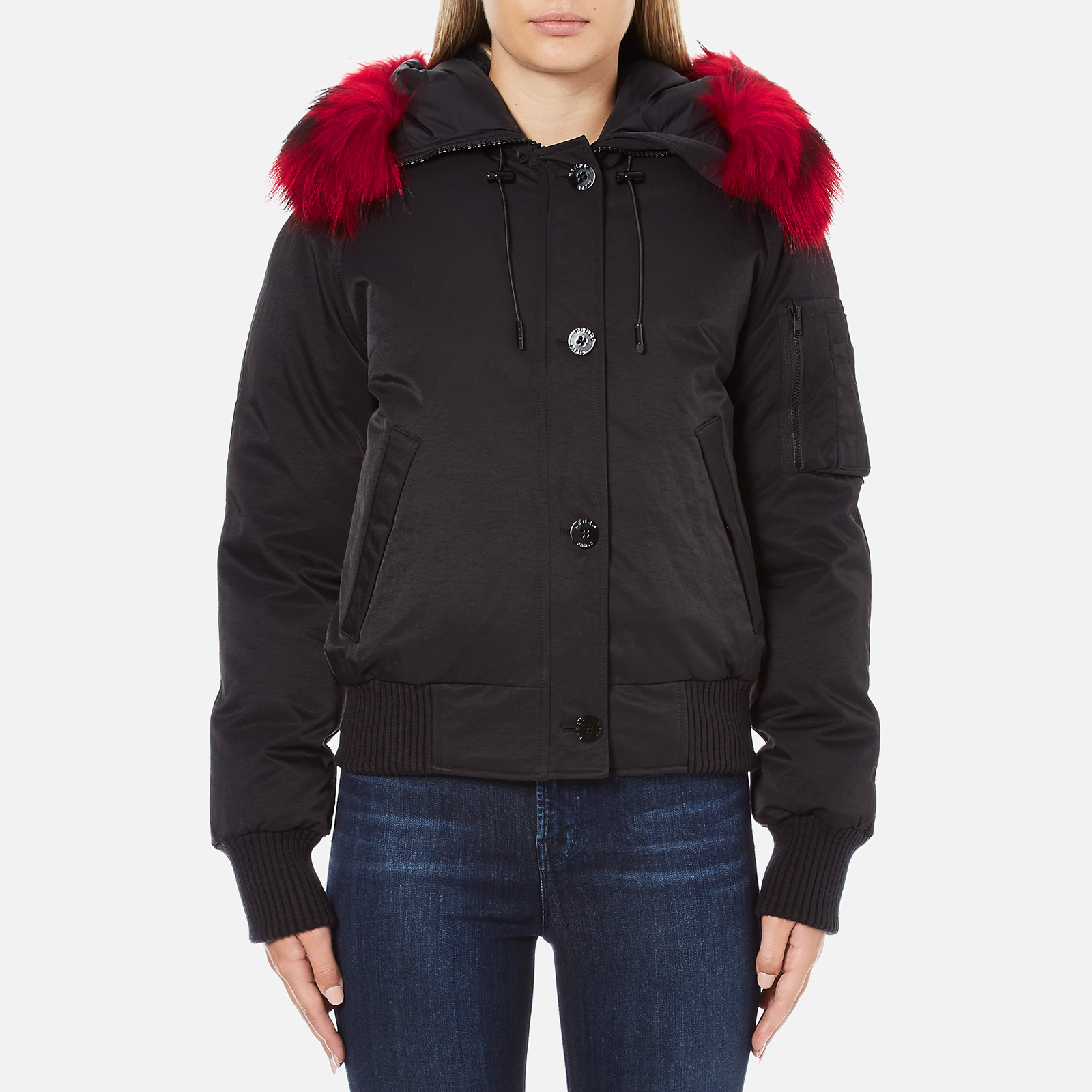 ba5c25c3 KENZO Women's Removable Red Fur Lined Short Parka - Black