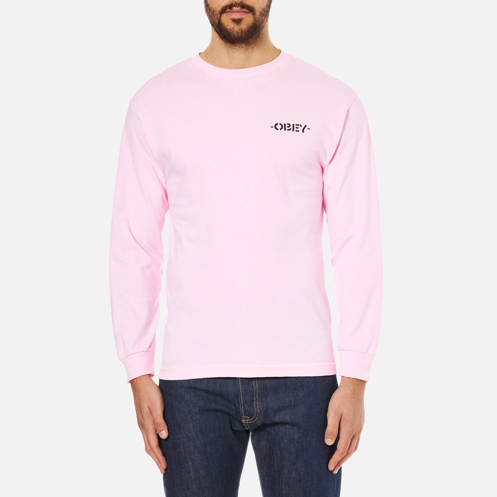 dde72dd6 OBEY Clothing Men's Mother Earth Long Sleeve T-Shirt - Pink Clothing |  TheHut.com