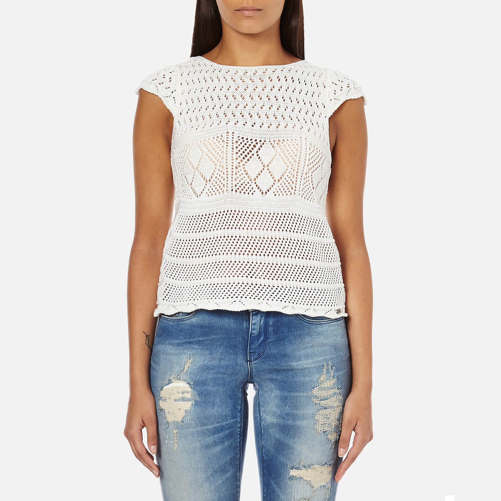 2ab51354 Superdry Women's Alexis Crochet Knitted Top - Off White Womens Clothing |  TheHut.com