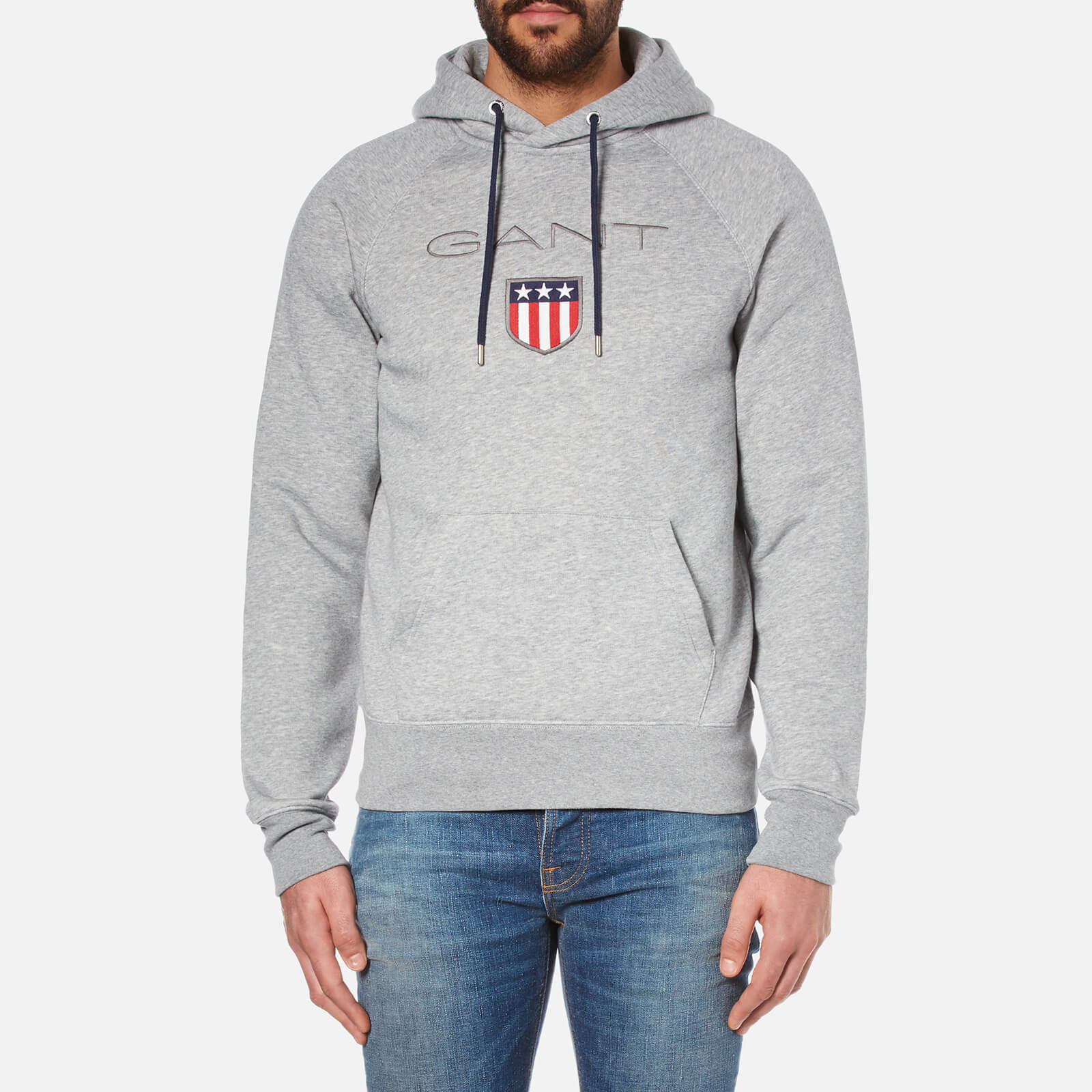5718118d GANT Men's GANT Shield Hoodie - Grey Melange Mens Clothing | TheHut.com