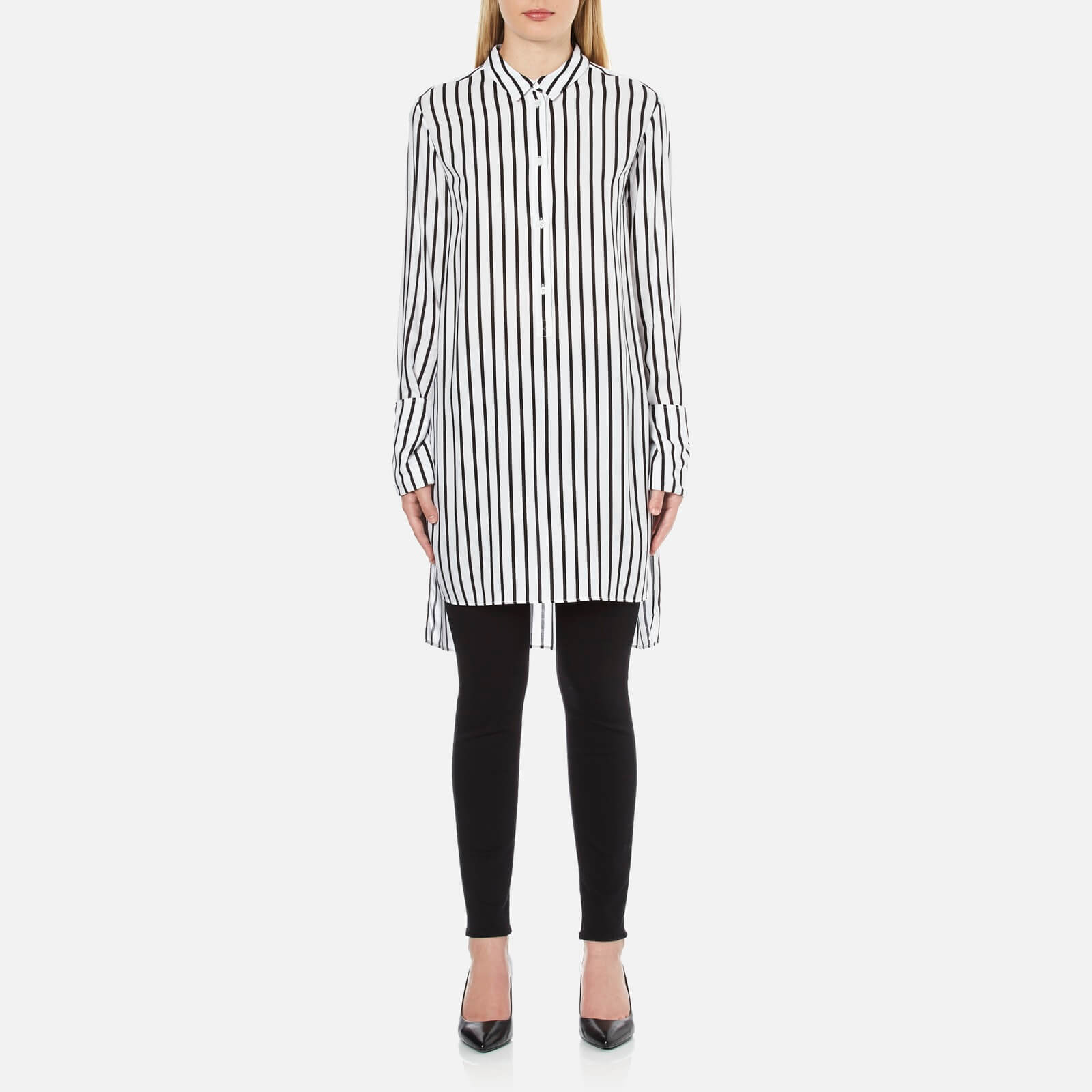 5f995f6230c McQ Alexander McQueen Women's Tunic Shirt Dress - White/Black Stripe - Free  UK Delivery over £50