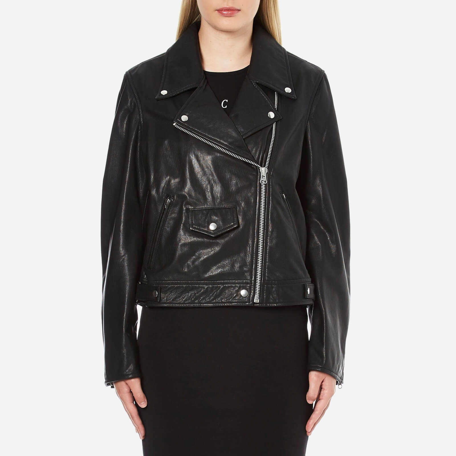 defe729a15461 McQ Alexander McQueen Women's Casual Leather Biker Jacket - Black - Free UK  Delivery over £50