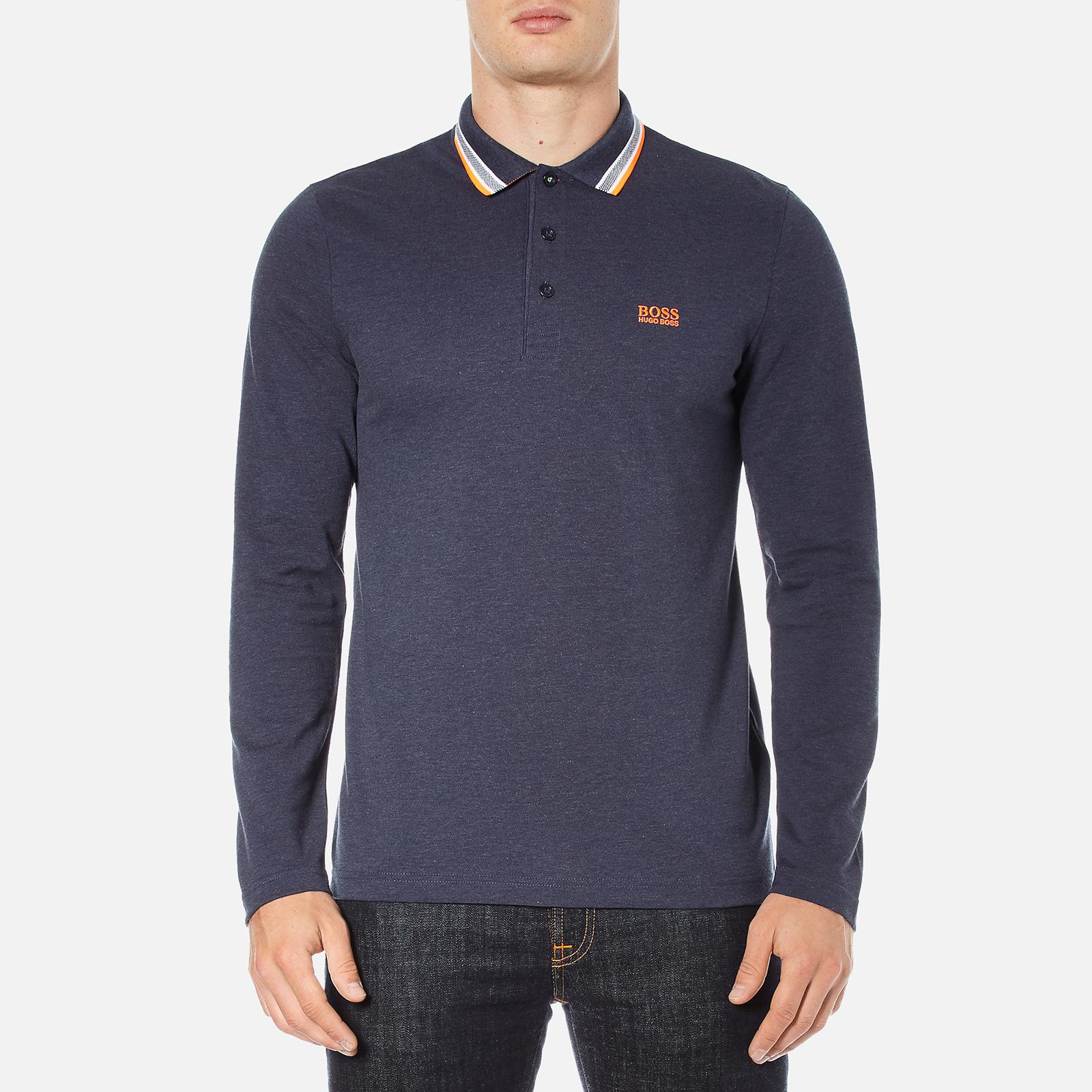 0d657ae57 BOSS Green Men's Plisy Long Sleeve Polo Shirt - Blue Clothing | TheHut.com
