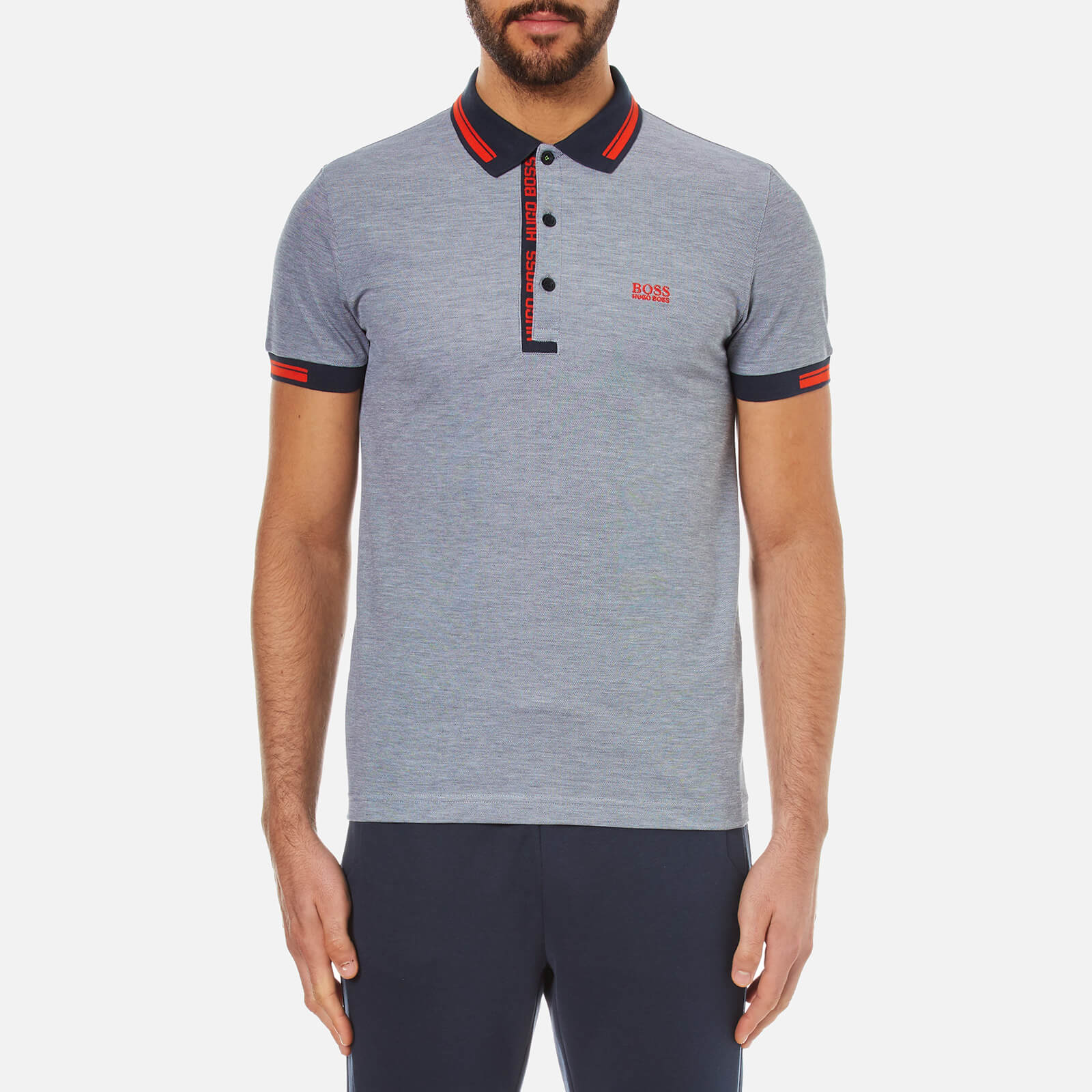 9ff2d49e2 BOSS Green Men's Paule 4 Collar Detail Polo Shirt - Blue - Free UK Delivery  over £50