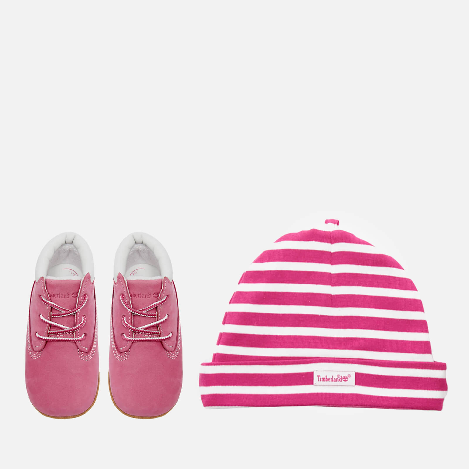 1565d4a4d48ef Timberland Babies' Crib Booties with Hat Gift Set - Fuchsia Rose | FREE UK  Delivery | Allsole