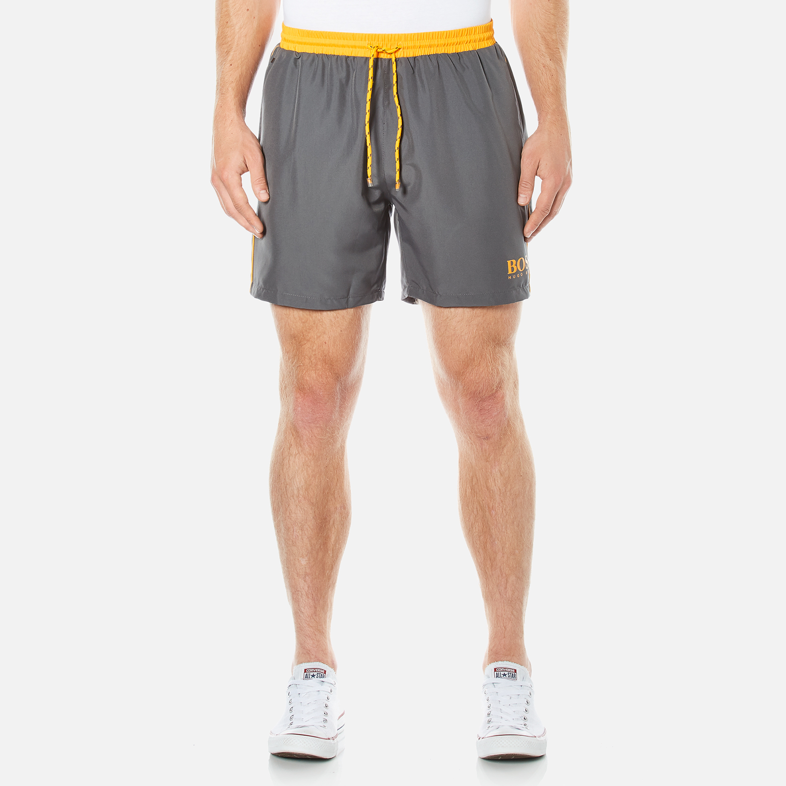 067094bbfa BOSS Hugo Boss Men's Starfish Swim Shorts - Dark Grey - Free UK Delivery  over £50