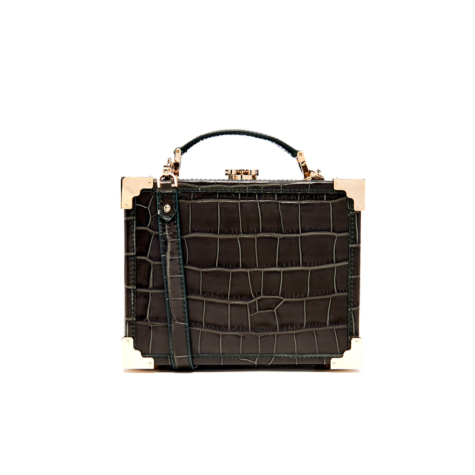 e701eec08 Aspinal of London Women s Mini Croc Trunk Bag - Forest Green Croc Womens  Accessories