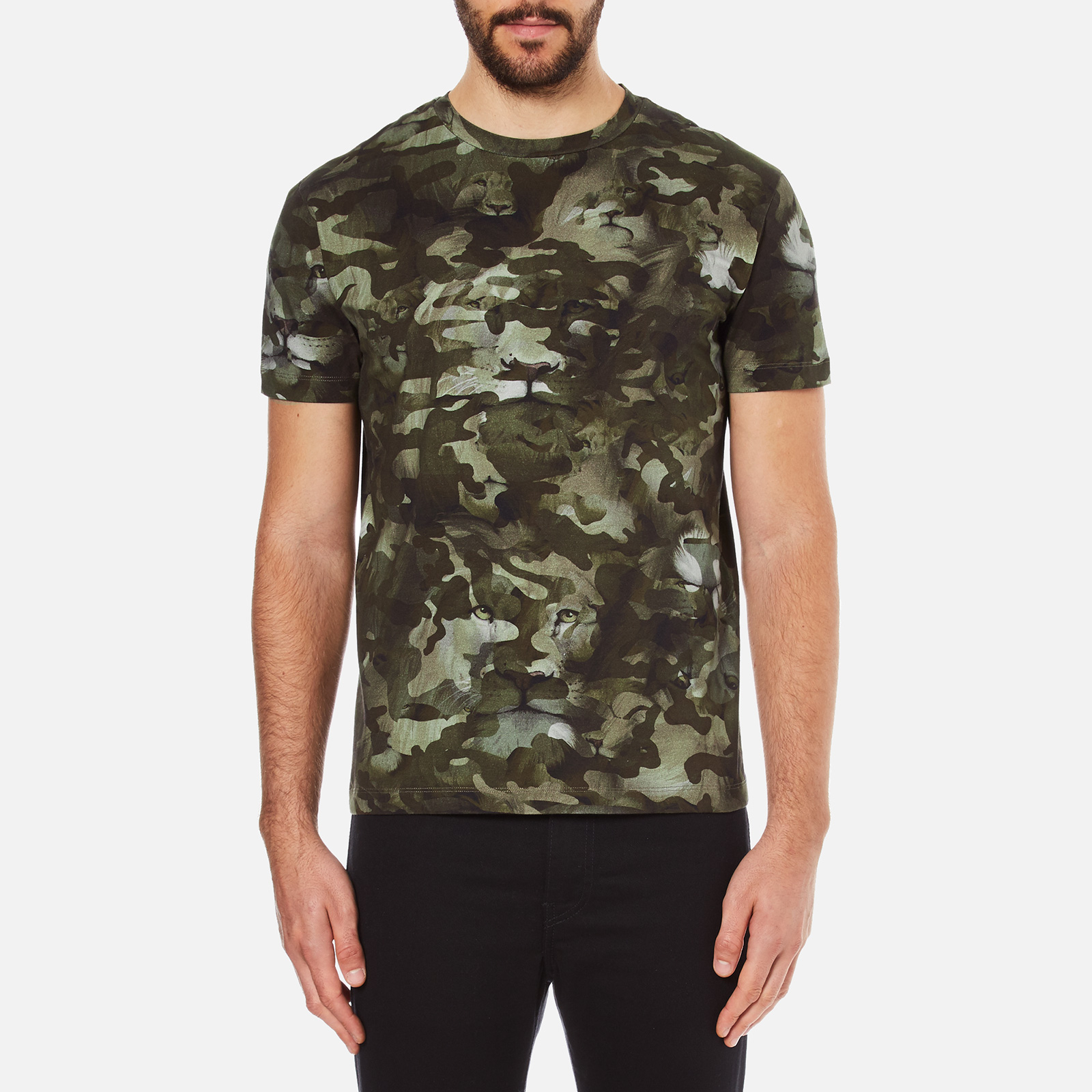 b85c5477 Versus Versace Men's Camo Print Crew Neck T-Shirt - Stampa - Free UK  Delivery over £50