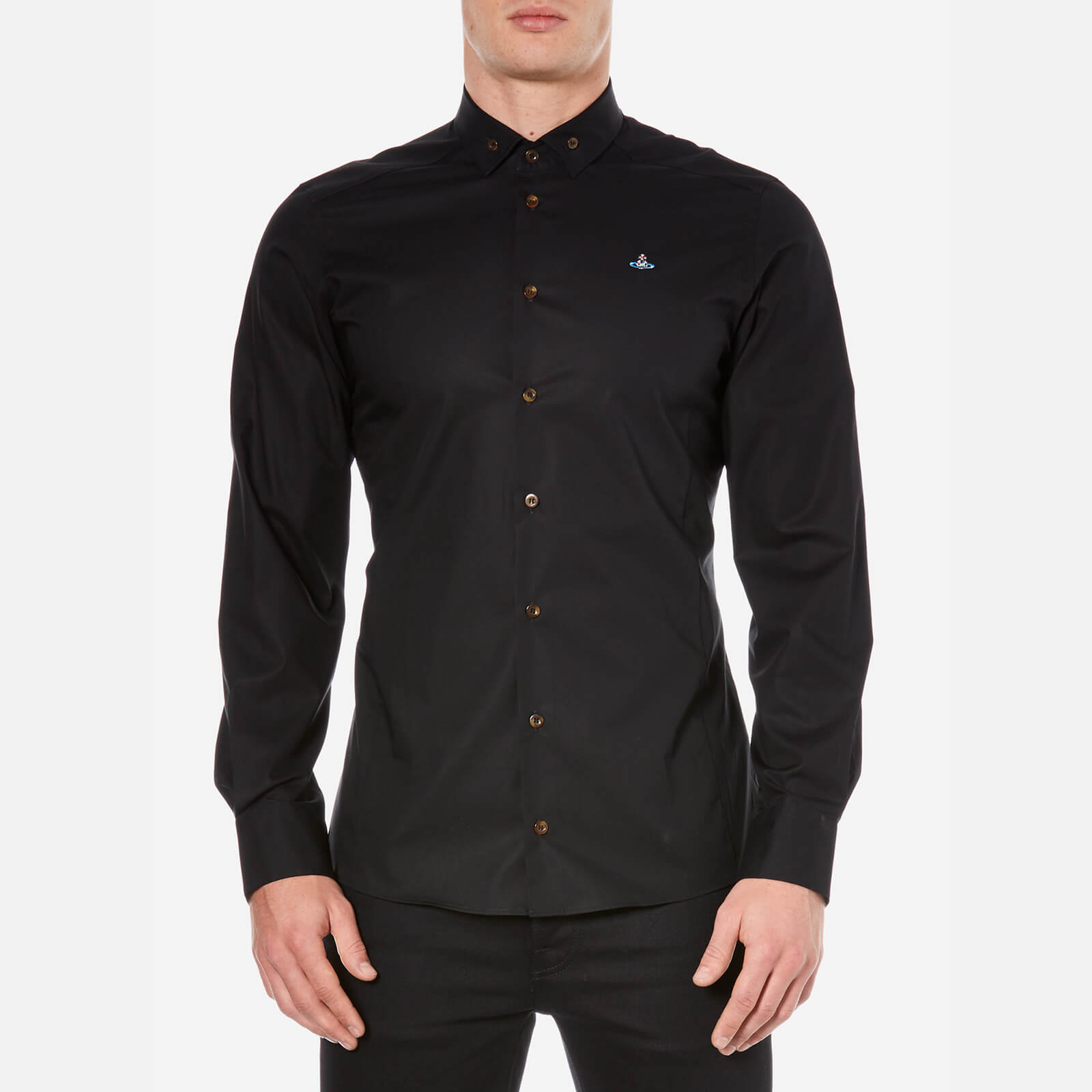 838c7c4ad66bc Vivienne Westwood Men s Stretch Poplin Long Sleeve Shirt - Black - Free UK  Delivery over £50