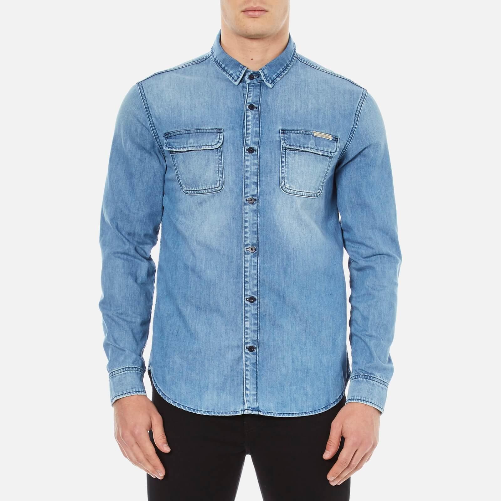ea08817054 Calvin Klein Men s Classic Denim Shirt - Light Indigo Mens Clothing ...