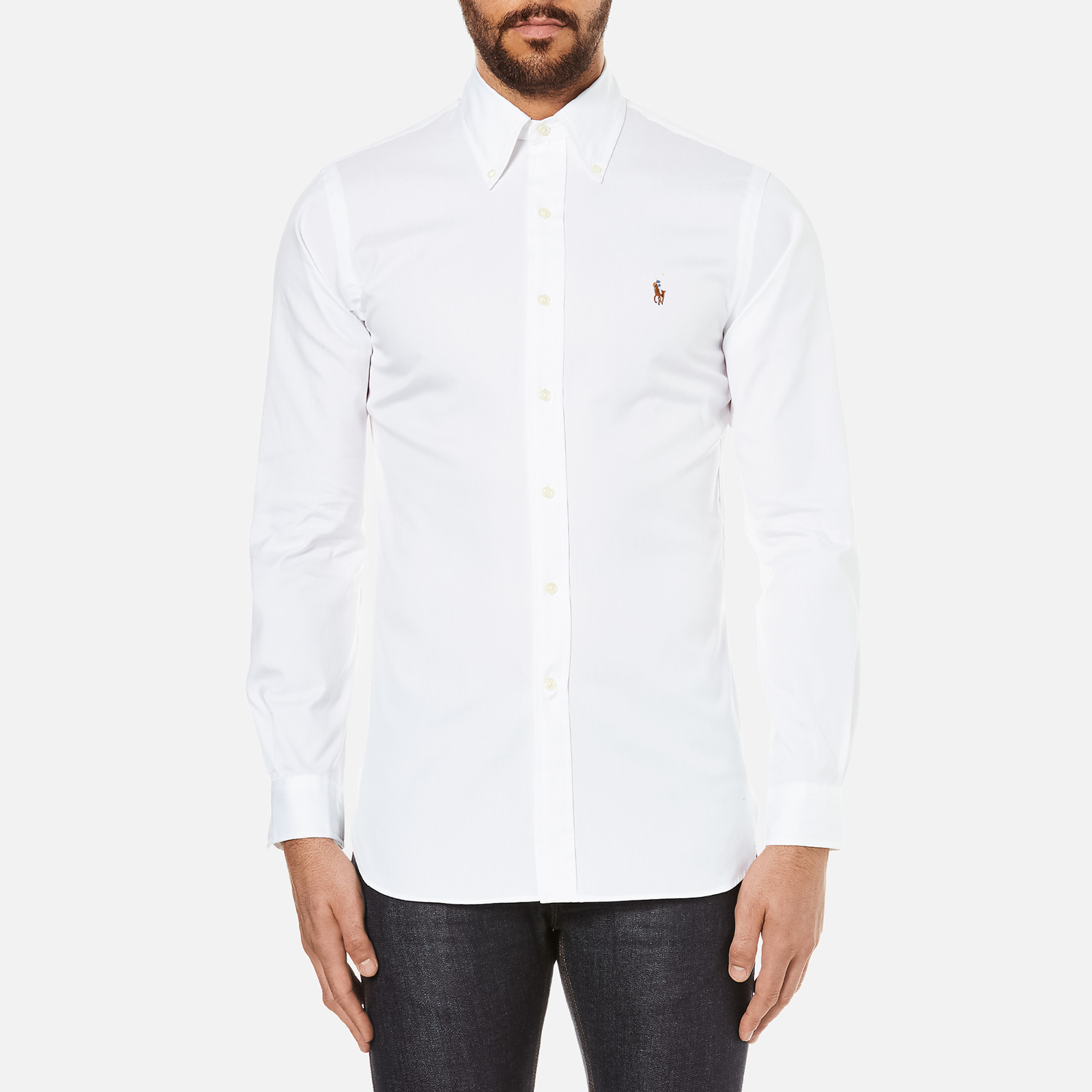 ca4a9f2731644 Polo Ralph Lauren Men s Custom Fit Button Down Pinpoint Oxford Shirt -  White - Free UK Delivery over £50