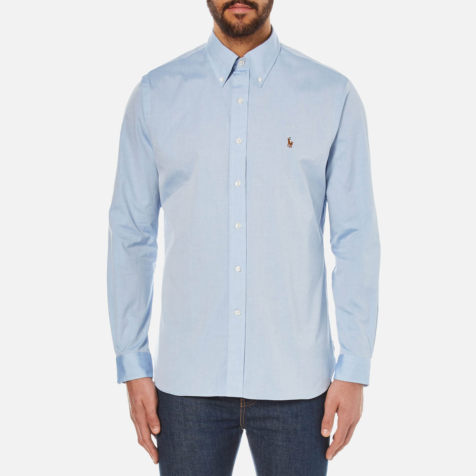 703b90bc Polo Ralph Lauren Men's Custom Fit Button Down Pinpoint Oxford Shirt - Blue  - Free UK Delivery over £50