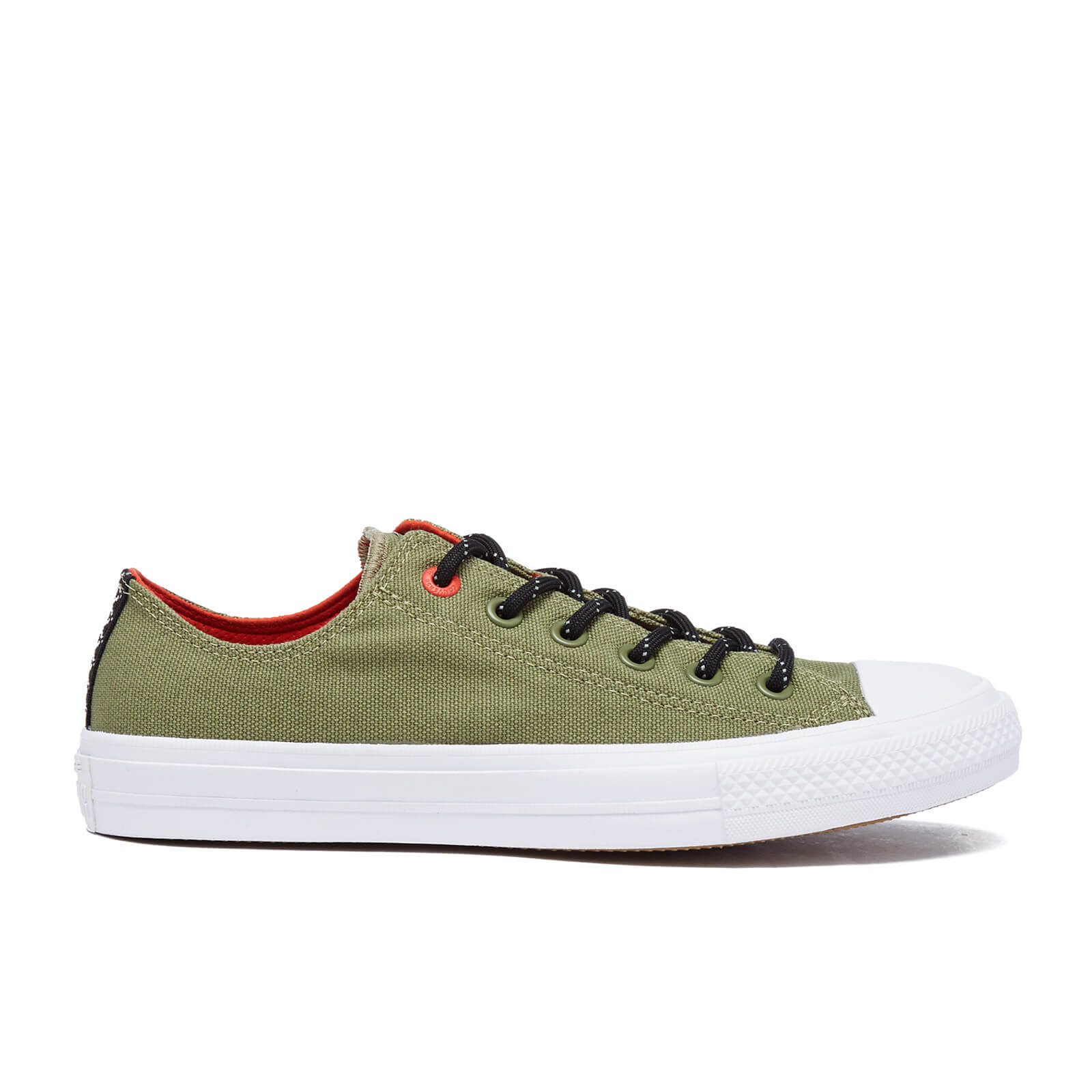 61518e715af Converse Men s Chuck Taylor All Star II Shield Canvas Low Top Trainers -  Fatigue Green Signal Red - Free UK Delivery over £50
