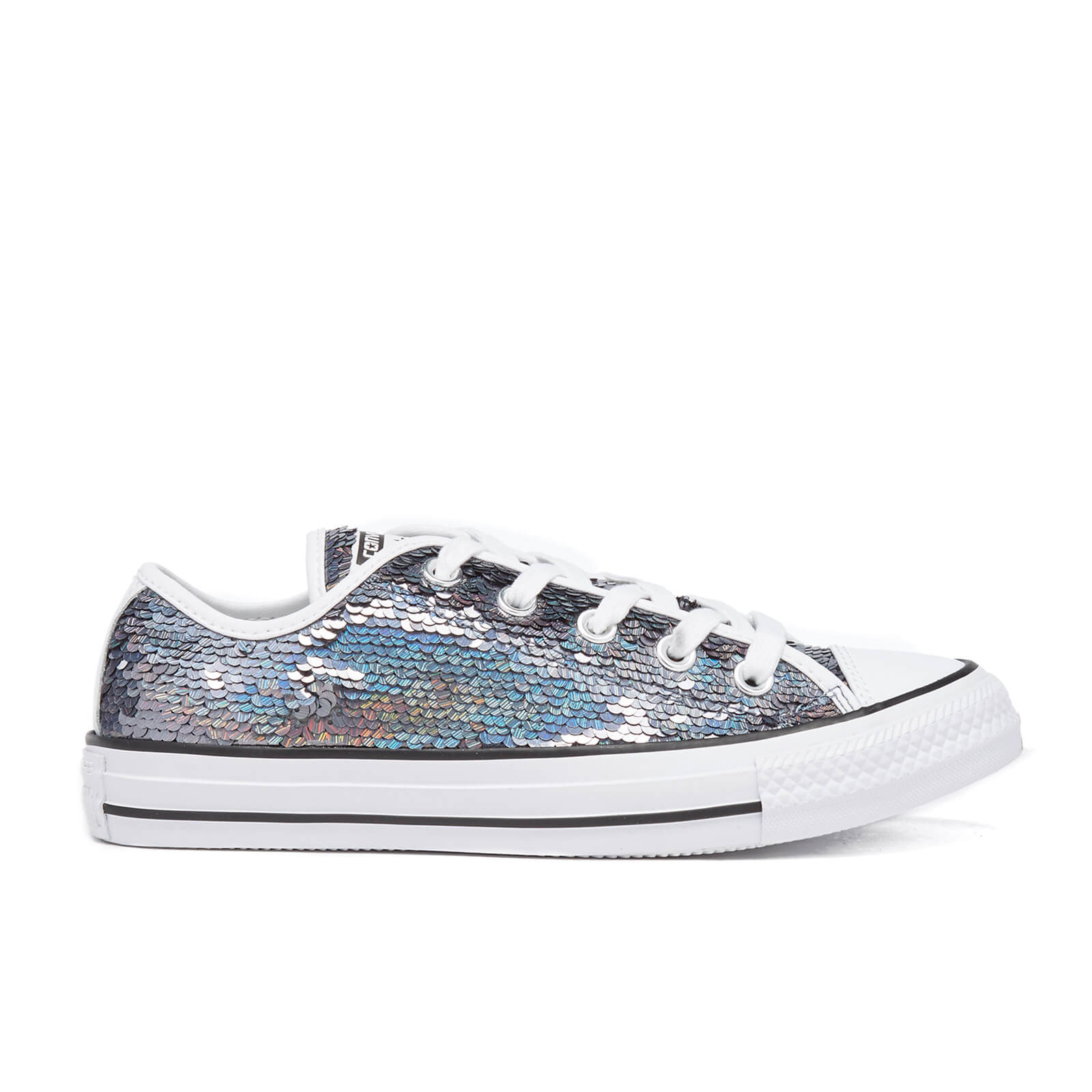 3c946e827e34c9 Converse Women s Chuck Taylor All Star Holiday Party OX Trainers - Gunmetal  White Black Womens Footwear