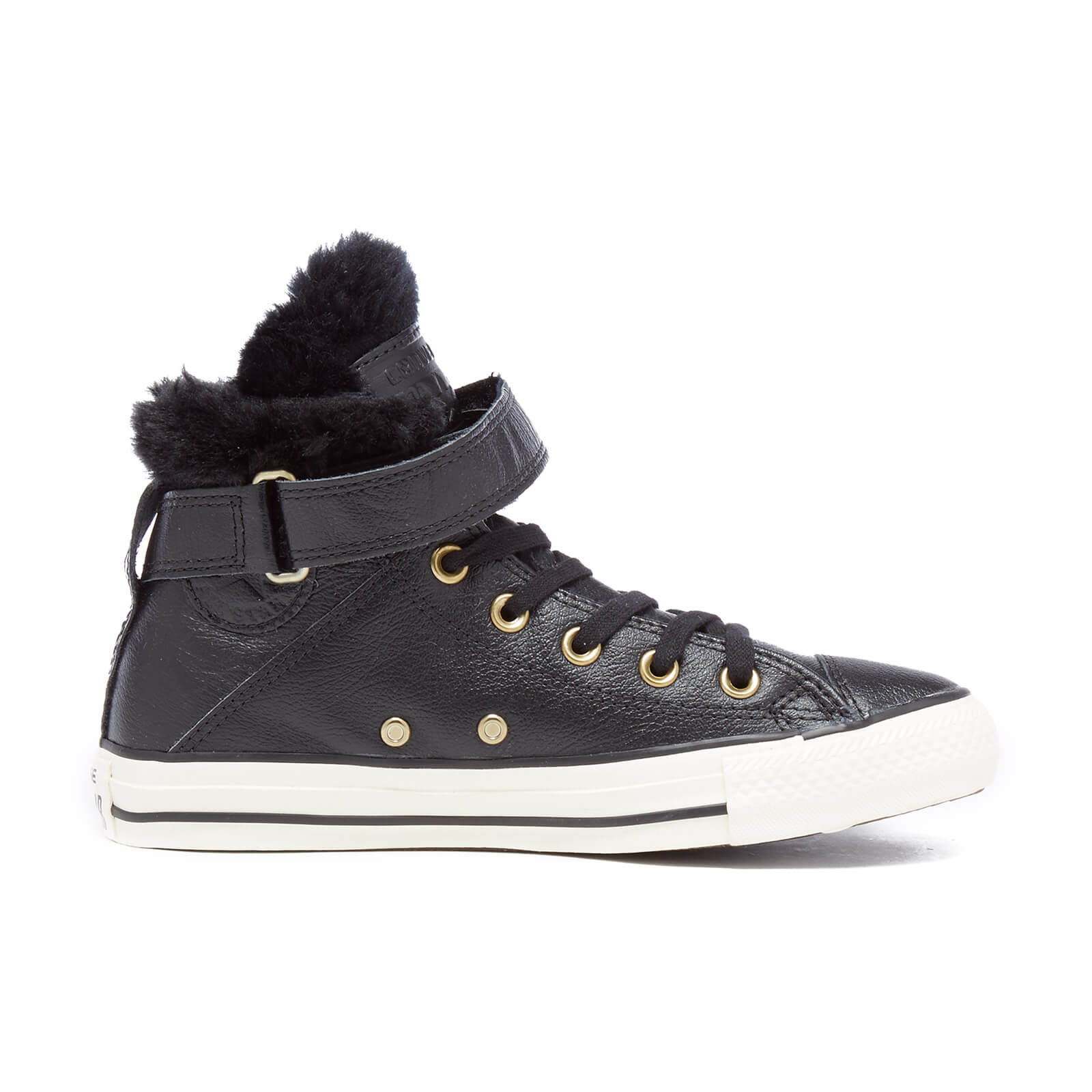 Converse Women's Chuck Taylor All Star Brea Leather Fur Hi Top Trainers BlackBlack