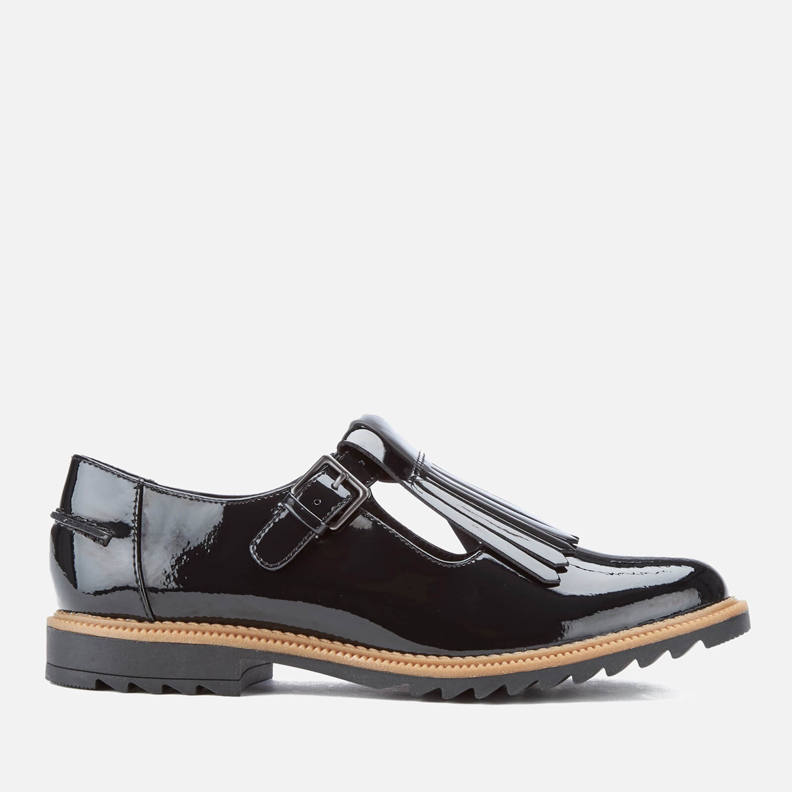 05c31bd84b6 Clarks Women's Griffin Mia Patent Frill T Bar Shoes - Black | FREE UK  Delivery | Allsole
